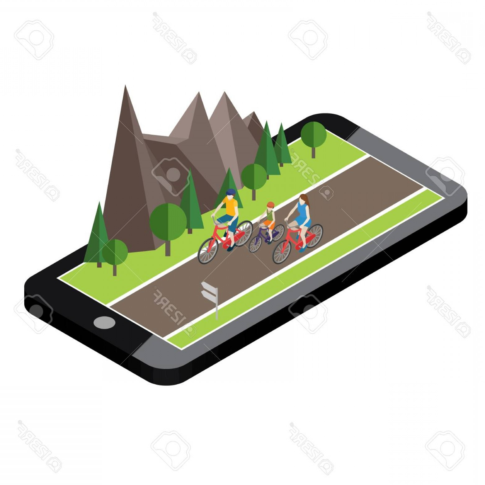 Geo-Tracking Vector: Photostock Vector Isometric Countryside Summer Road Mobile Geo Tracking Map Family Cycling On Countryside Summer Sunny