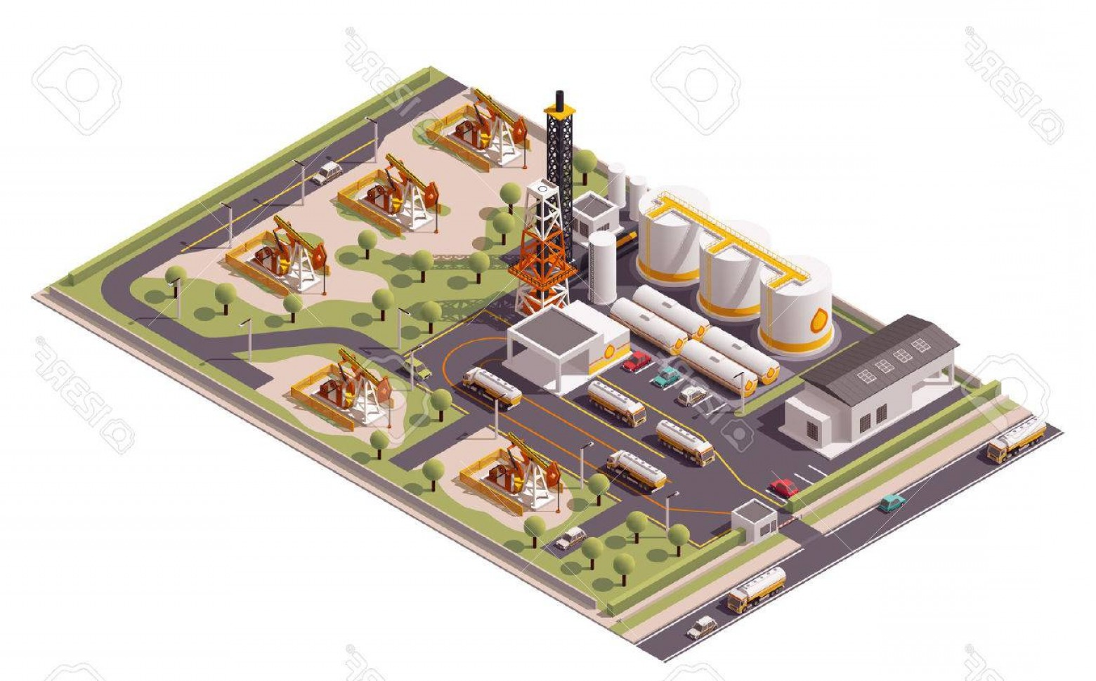 Oilfield Vector Crosses: Photostock Vector Isometric Icon Set Representing Oil Field Extracting Crude Oil
