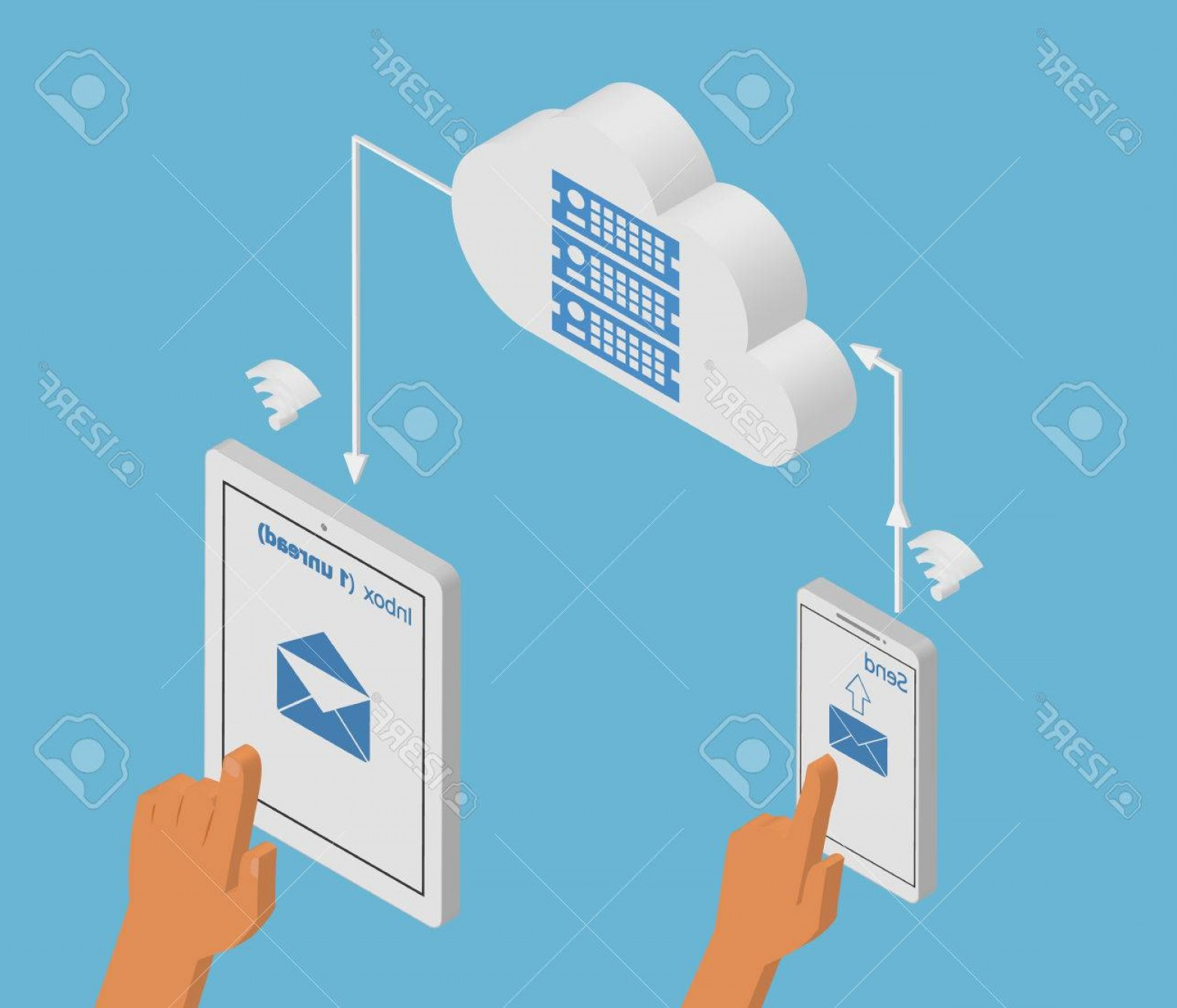Vector Email Server: Photostock Vector Isometric Illustration Of Email Synchronization Of Smartphone And Tablet Pc Via Cloud Server