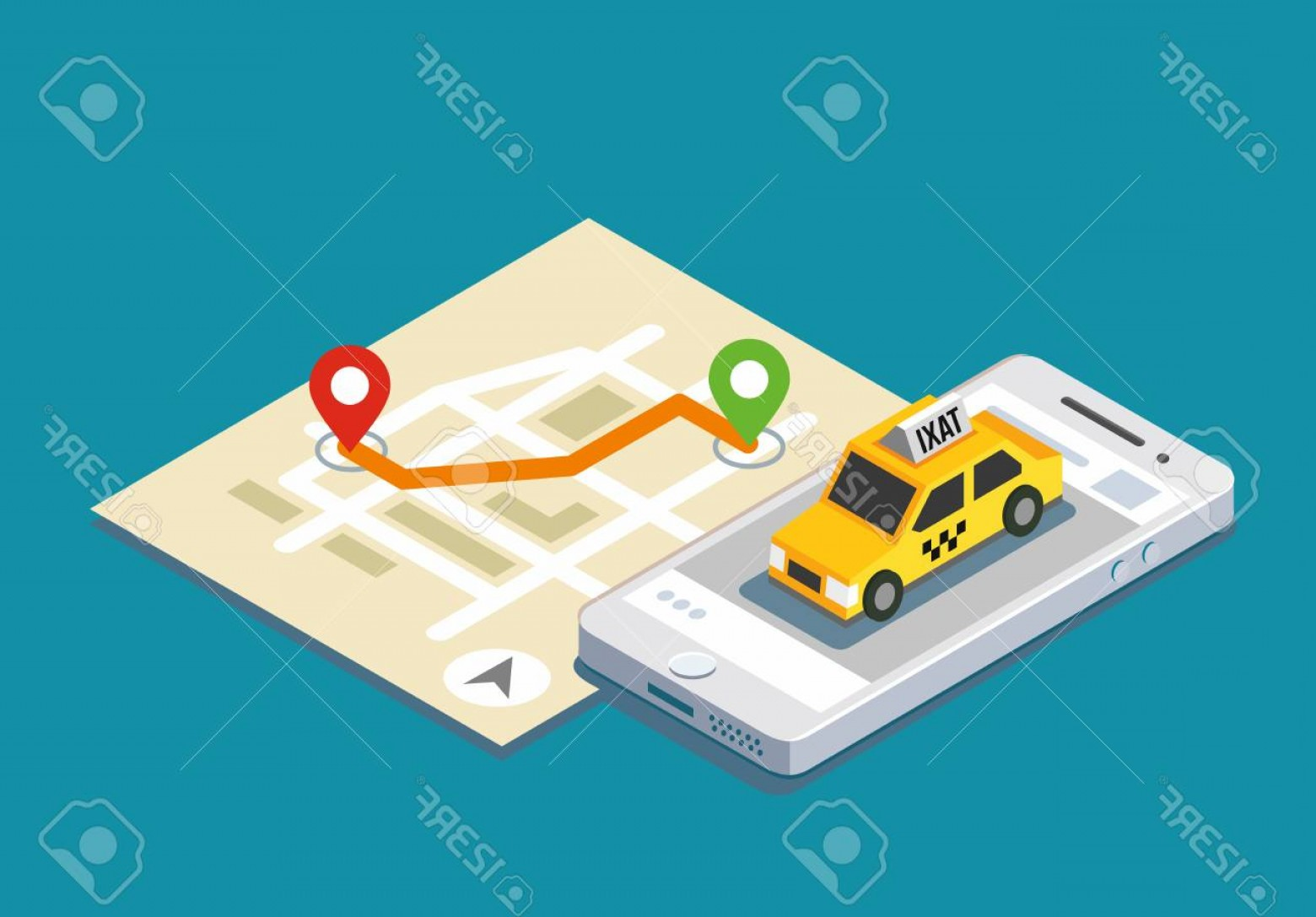 Geo-Tracking Vector: Photostock Vector Isometric Taxi Location And Map Mobile App And Geo Tracking