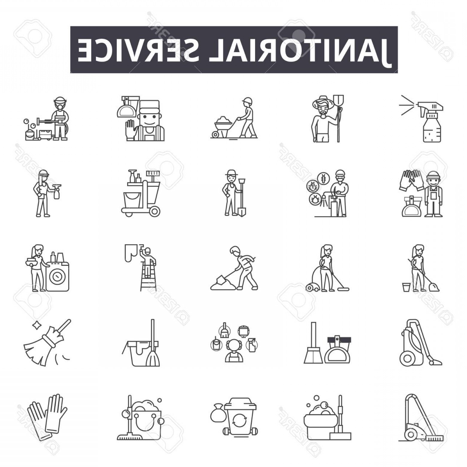 Janitorial Vector: Photostock Vector Janitorial Service Line Icons For Web And Mobile Editable Stroke Signs Janitorial Service Outline Co