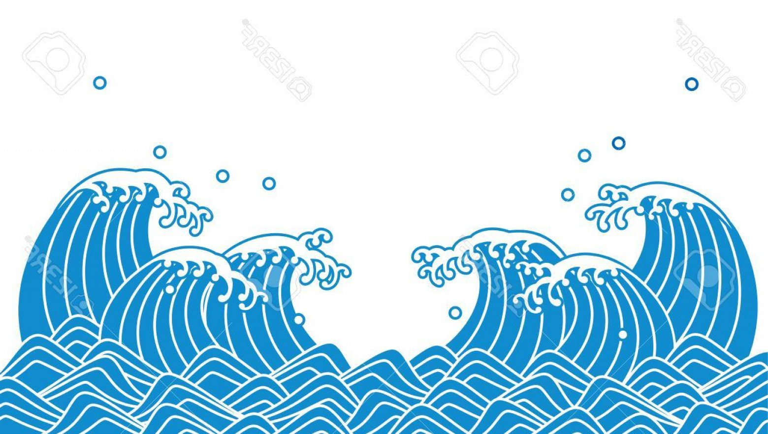 Vave Vector: Photostock Vector Japanese Blue Wave Vector Illustration