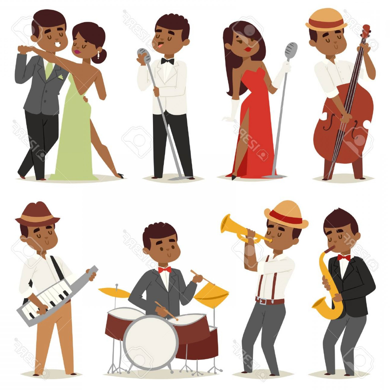 Musician Person Vector: Photostock Vector Jazz Music Band Flat Group Cartoon Musician People Playing On Instruments Blues Vector Illustration