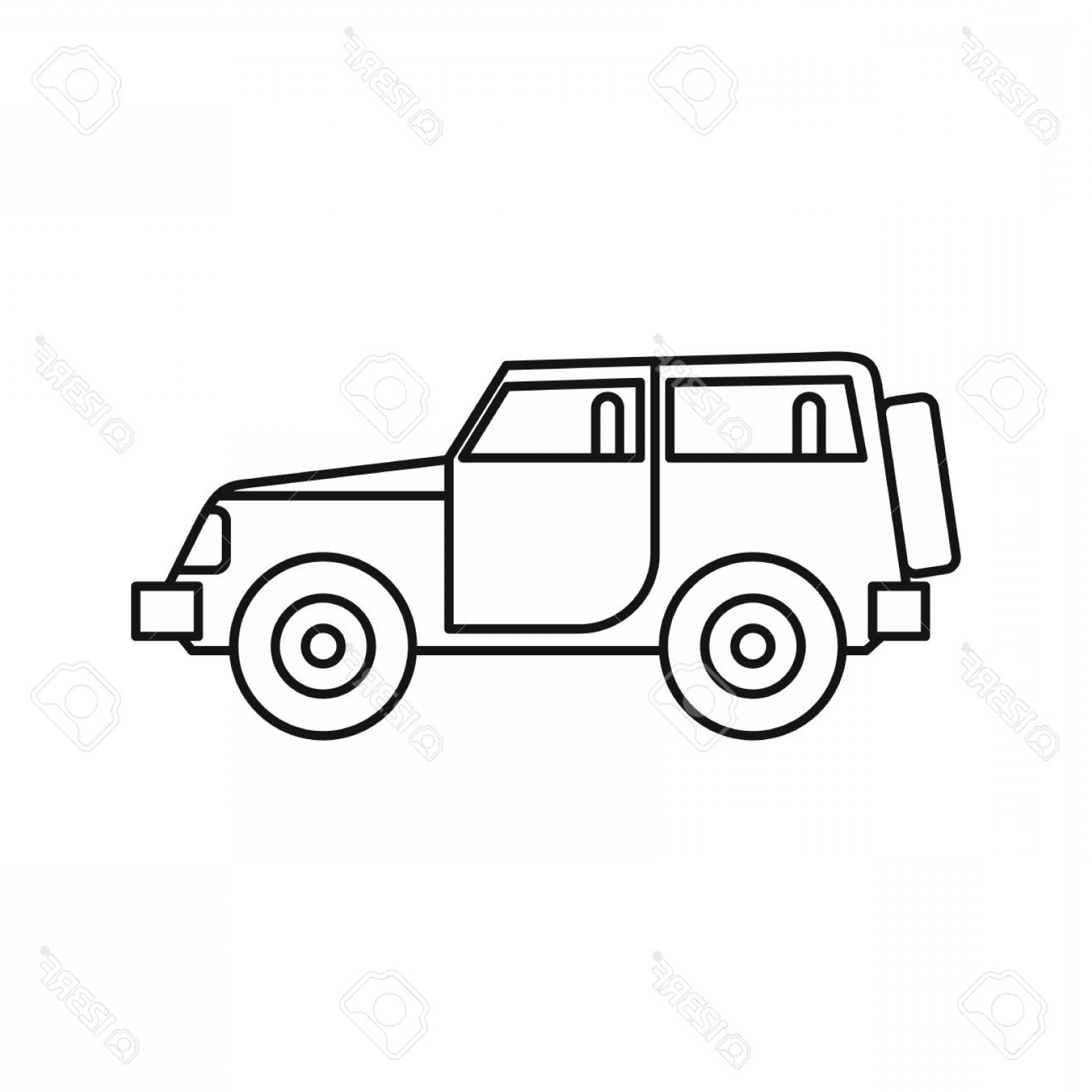 Vector Clip Art Of Jeep: Photostock Vector Jeep Icon In Outline Style On A White Background Vector Illustration