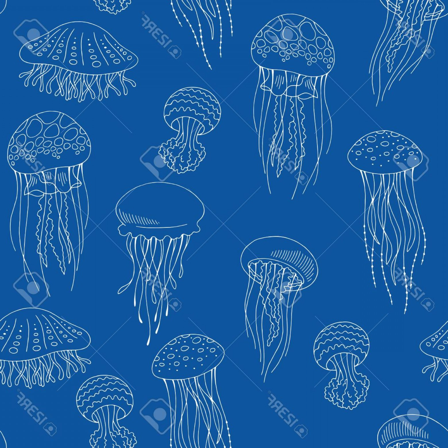 Jelly Fish Graphic Vector: Photostock Vector Jellyfish Graphic Blue Color Seamless Pattern Background Vector Illustration
