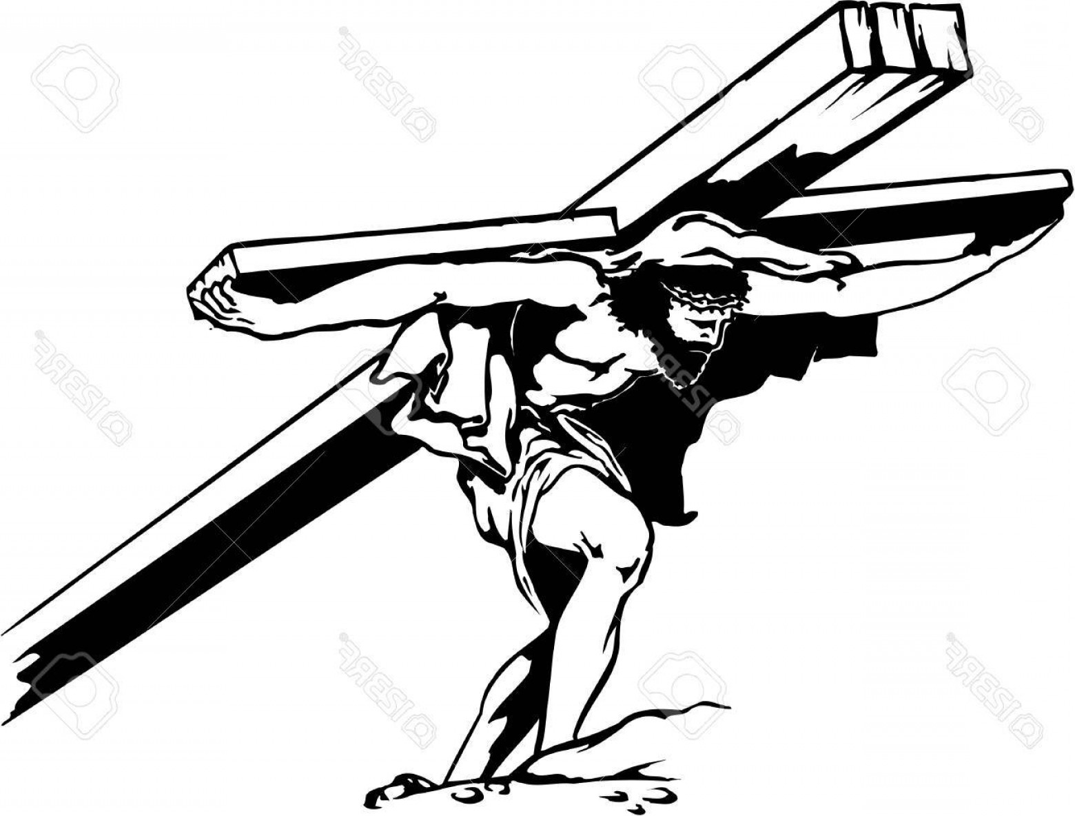 Nail Cross Vector: Photostock Vector Jesus Carrying Cross Illustration