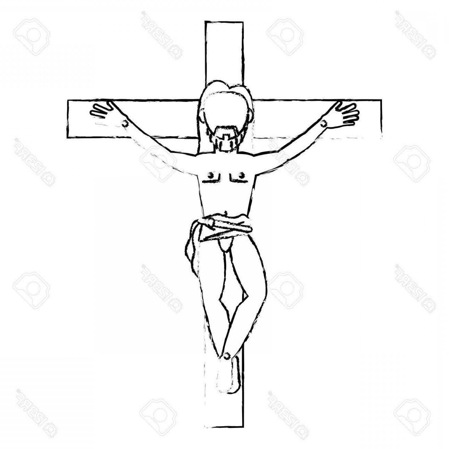 Nail Cross Vector: Photostock Vector Jesus Christ Crucified Devotion Sacrifice Sketch Vector Illustration Eps