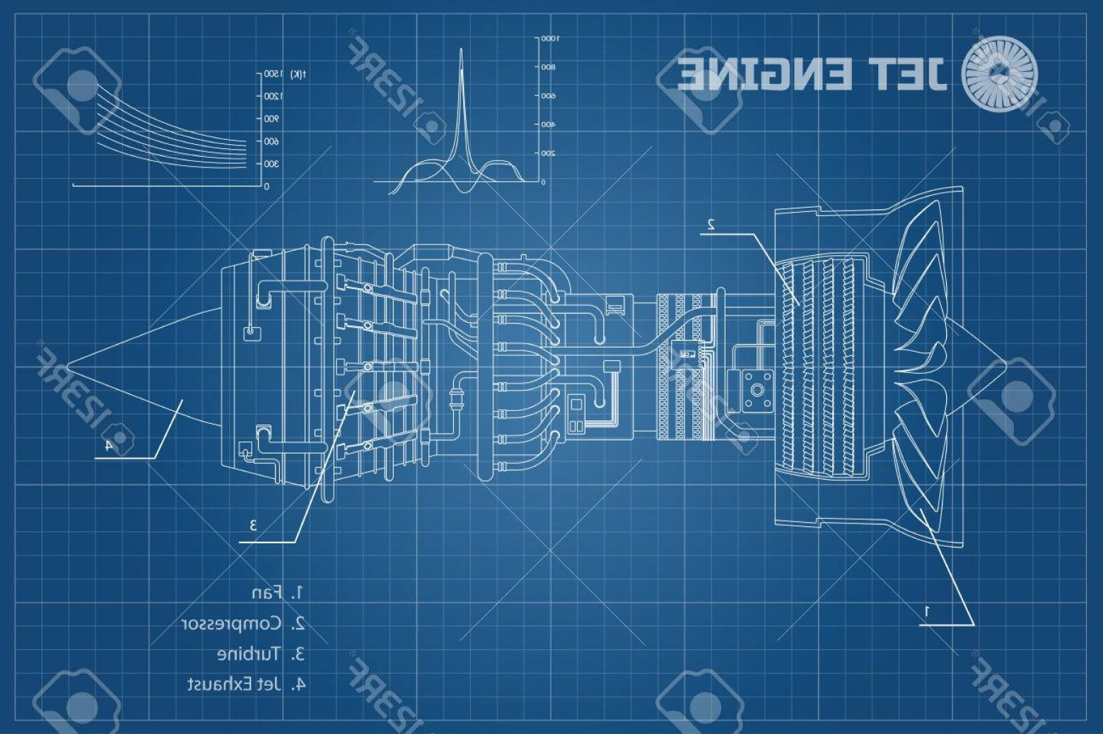 Blue Print Vectors: Photostock Vector Jet Engine In A Outline Style Industrial Vector Blueprint Part Of The Aircraft Side View Vector Illu
