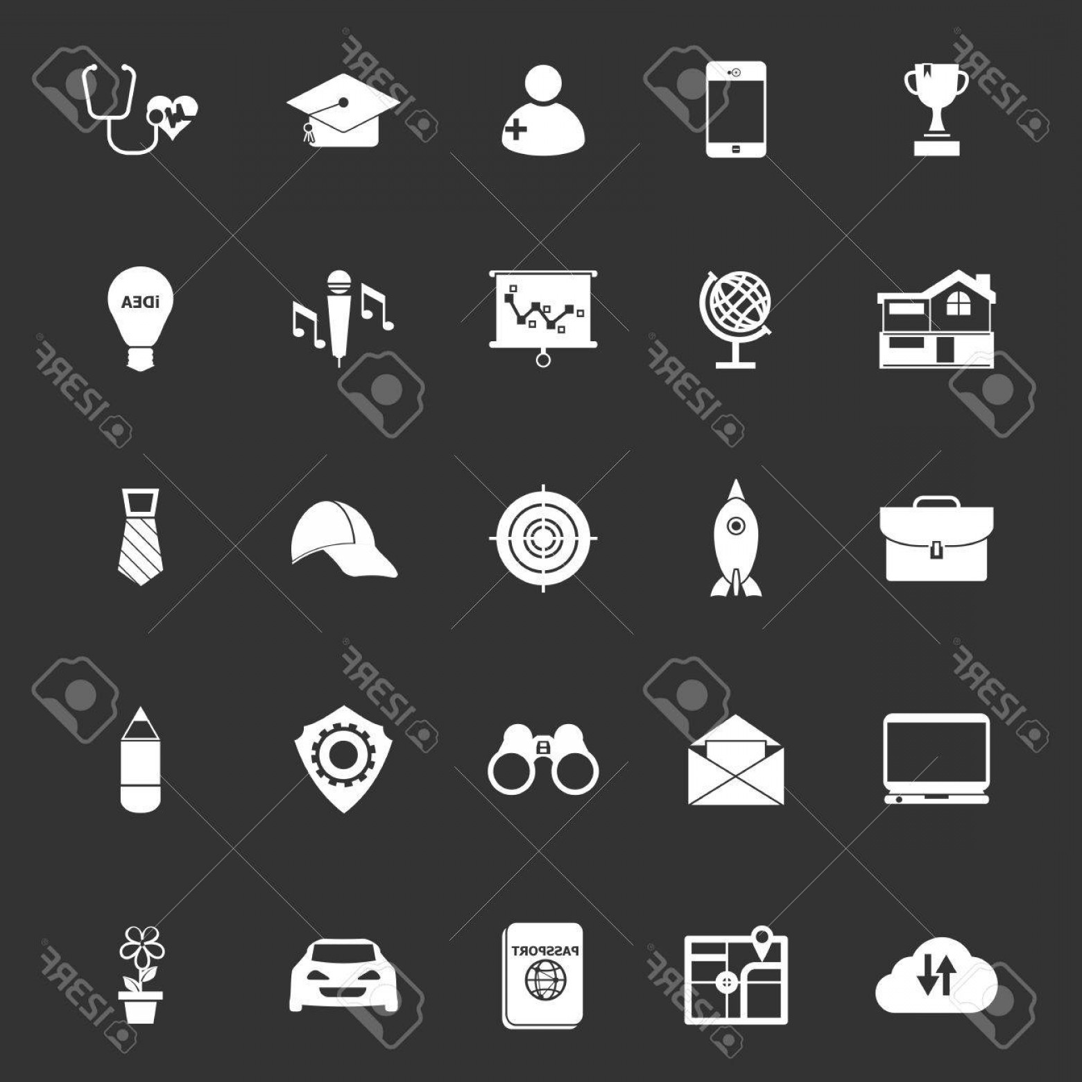 Vectors Job Description: Photostock Vector Job Description Icons On Gray Background Stock Vector