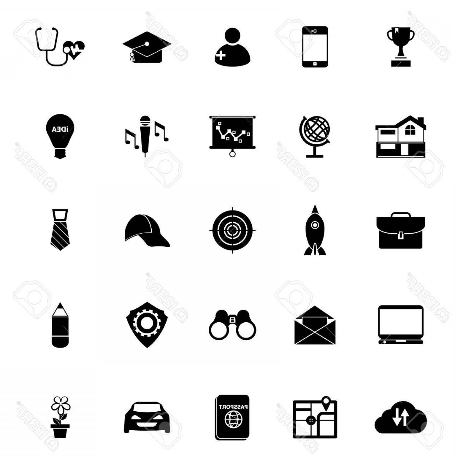Vectors Job Description: Photostock Vector Job Description Icons On White Background Stock Vector