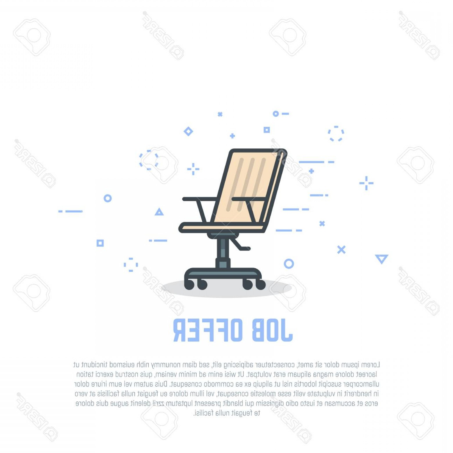 Vector Job Offer: Photostock Vector Job Offer Concept Vacant Employee Linear Chair With Wheels Retro Colors And Shadows Flat Style Line