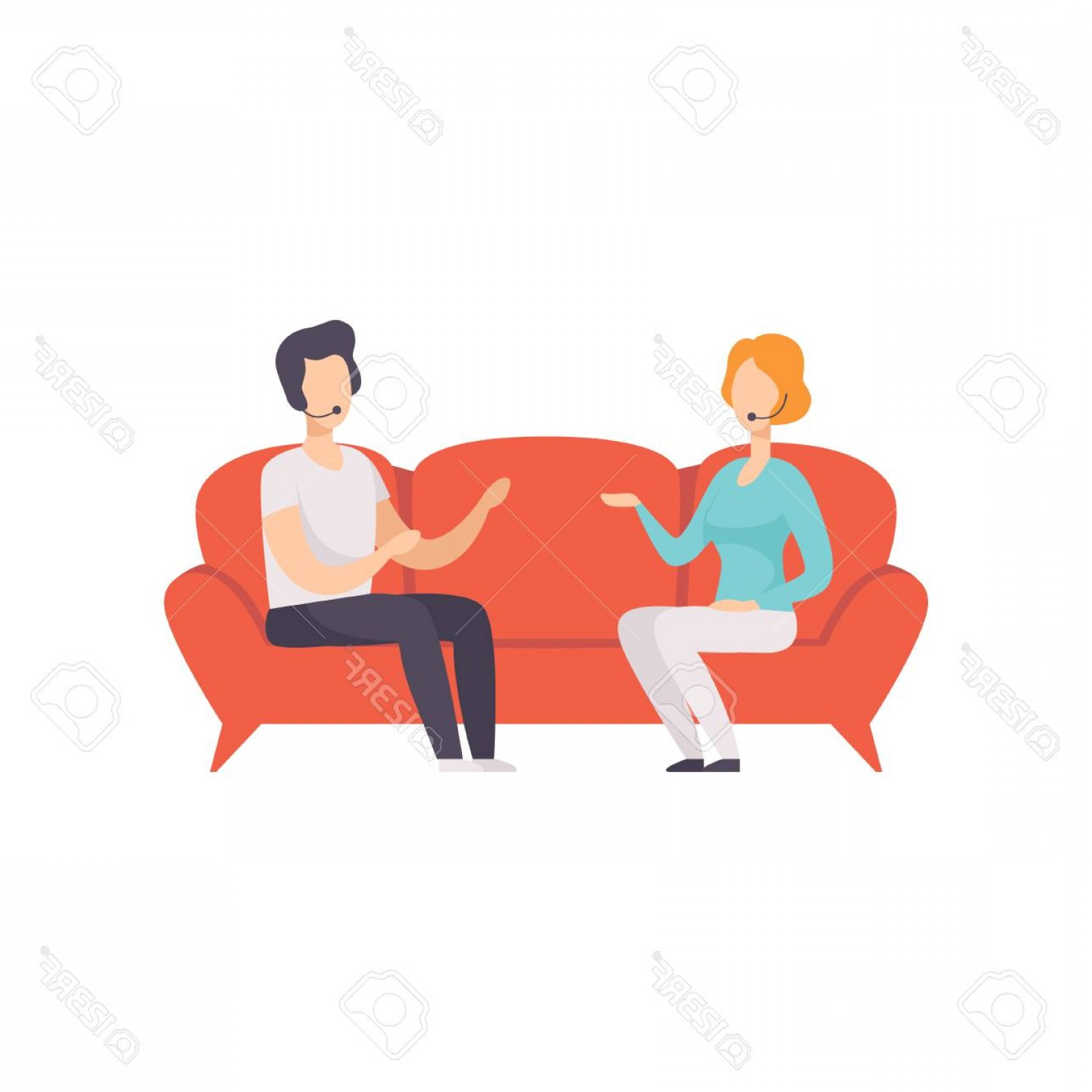 Talk Show Vector: Photostock Vector Journalist Interviewing Guest In A Tv Studio Talk Show Vector Illustration On A White Background