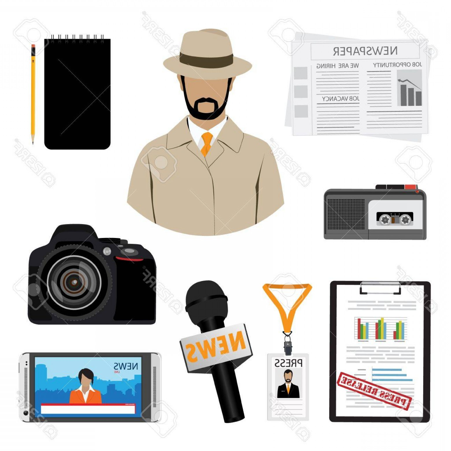Hires Camera Lens Vector: Photostock Vector Journalist Or Reporter Vector Icon Set Dictaphone Microphone Press Release And Name Tag Badge Templa