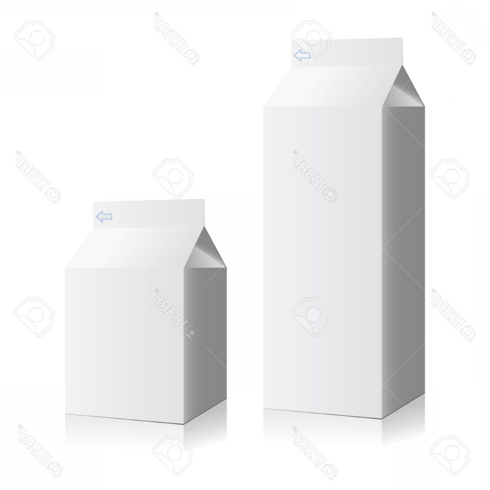 Vector Milk Container: Photostock Vector Juice And Milk Blank White Carton Boxes Vector Illustration Mock Up Packages