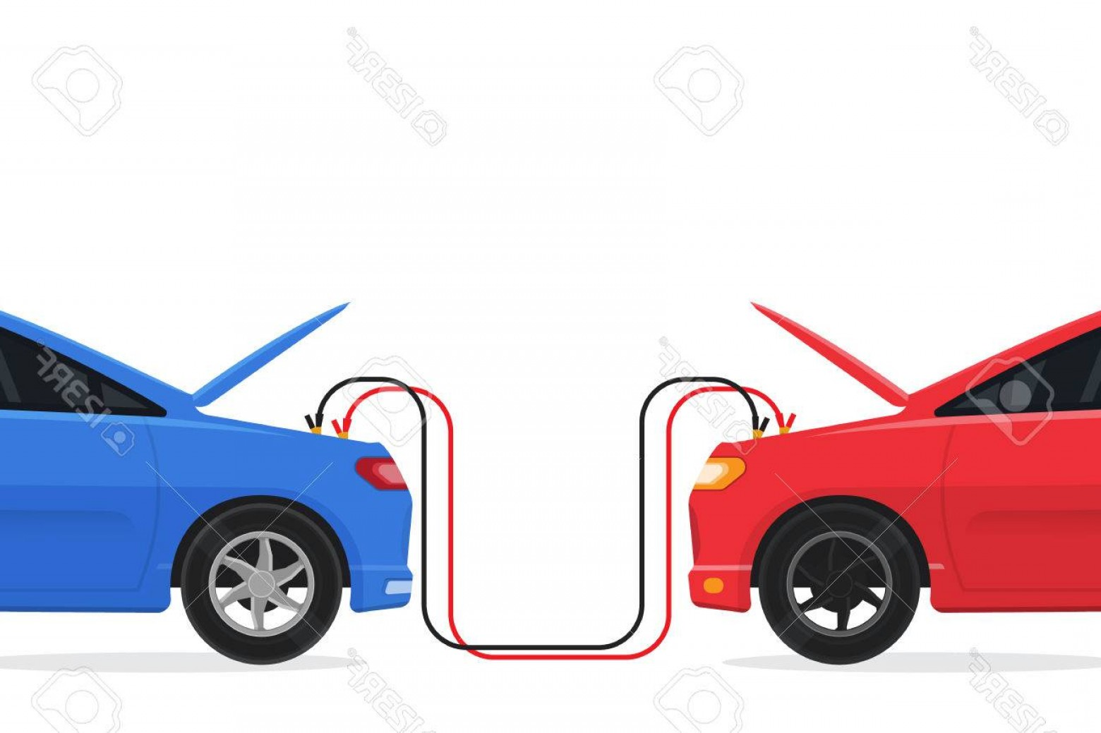 Vector Jump Start Replacement Parts: Photostock Vector Jump Start Two Cars Battery Low Vector Illustration