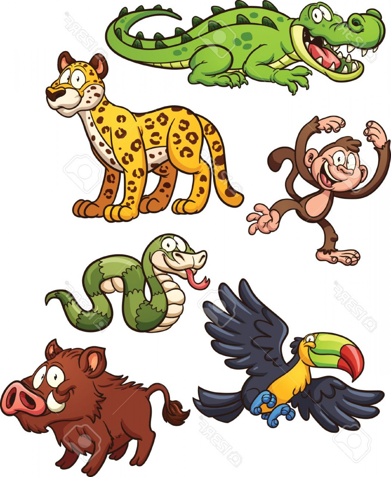 Jungle Animals Clip Art Vector: Photostock Vector Jungle Animals Vector Clip Art Illustration With Simple Gradients Each On A Separate Layer