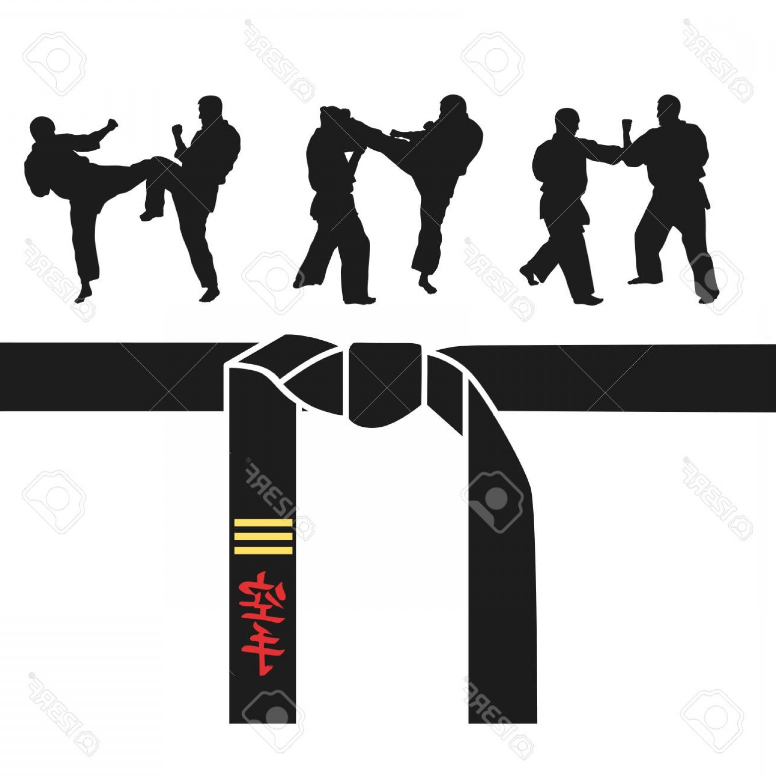 Karate Vector: Photostock Vector Karate Belt Men Demonstrating Karate Vector Illustration