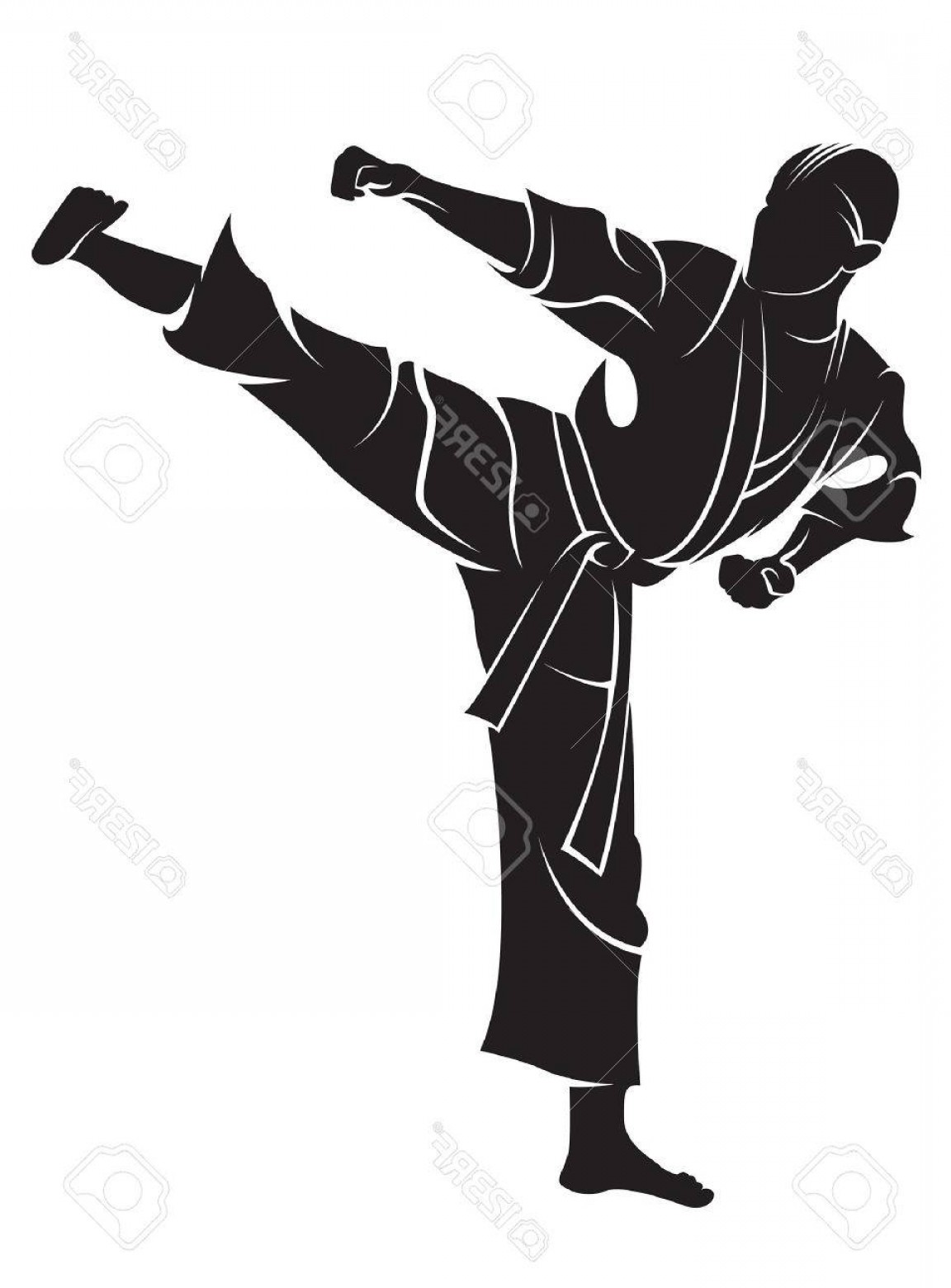 Karate Vector: Photostock Vector Karate Fighter Vector Silhouette Isolated On White
