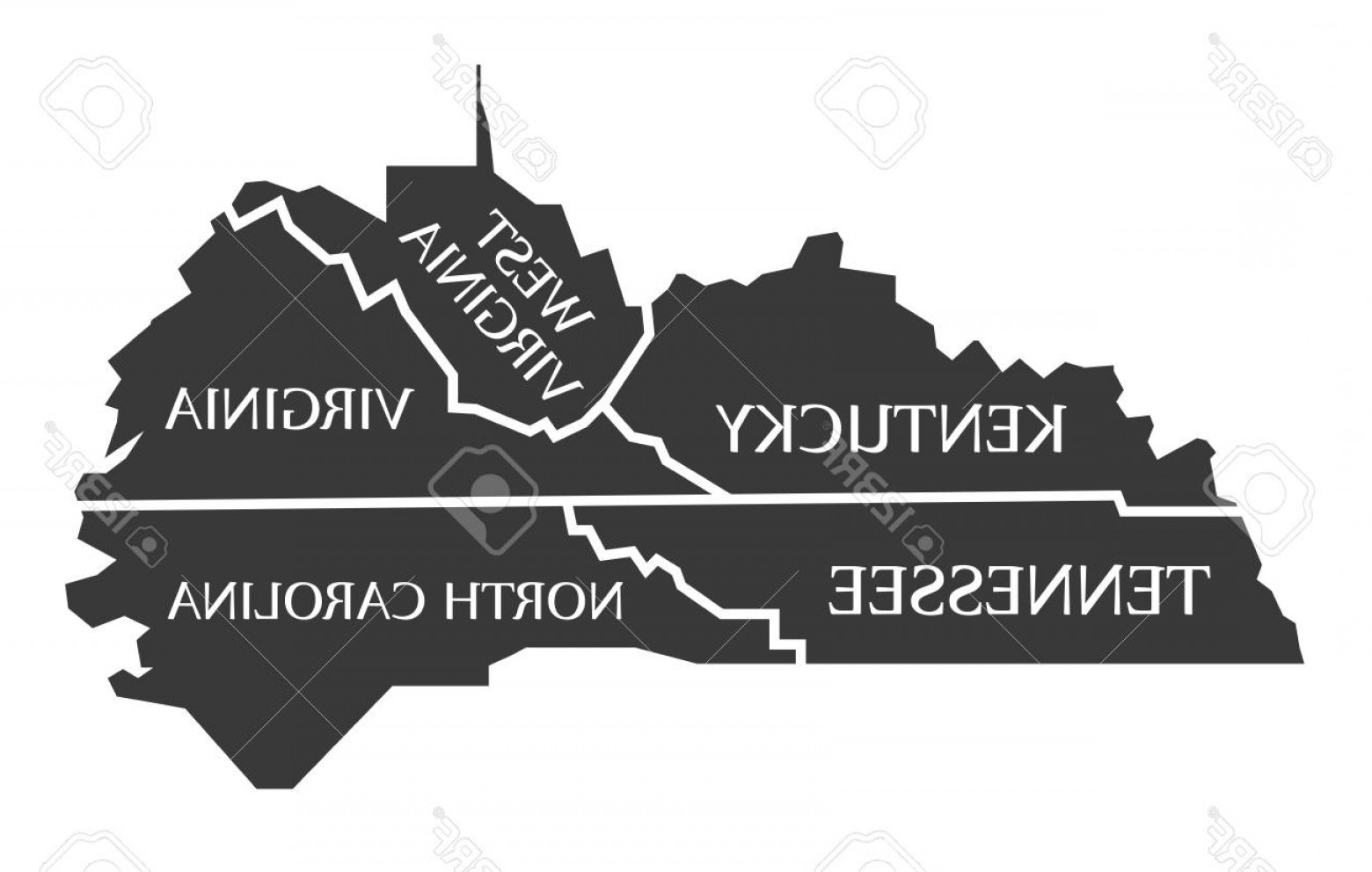 West Virginia Logo Vector: Photostock Vector Kentucky Tennessee West Virginia Virginia North Carolina Map Labelled Black Illustration
