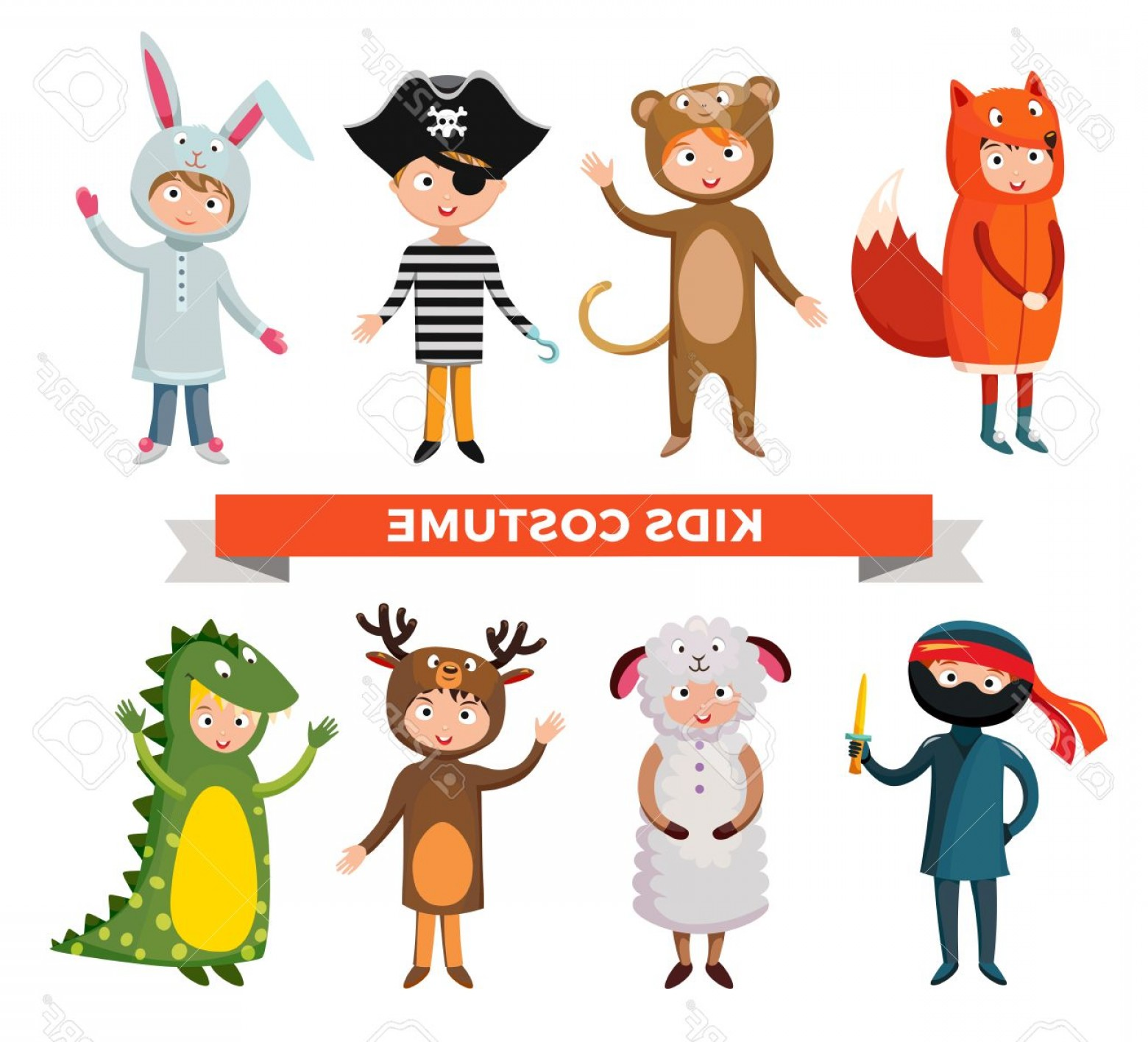 Vector The Crocodile Costume: Photostock Vector Kids Different Costumes Isolated Vector Illustration Dragon Crocodile Sheep And Deer Snowman Bear Ni