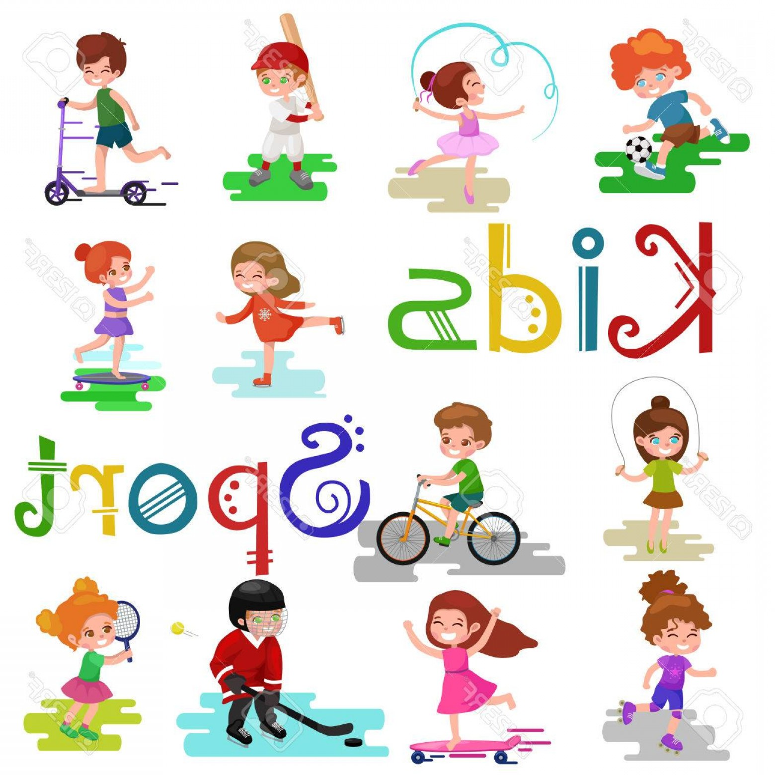 Sport Vector Art Games: Photostock Vector Kids Sport Isolated Boy And Girl Playing Active Games Vector Illustration