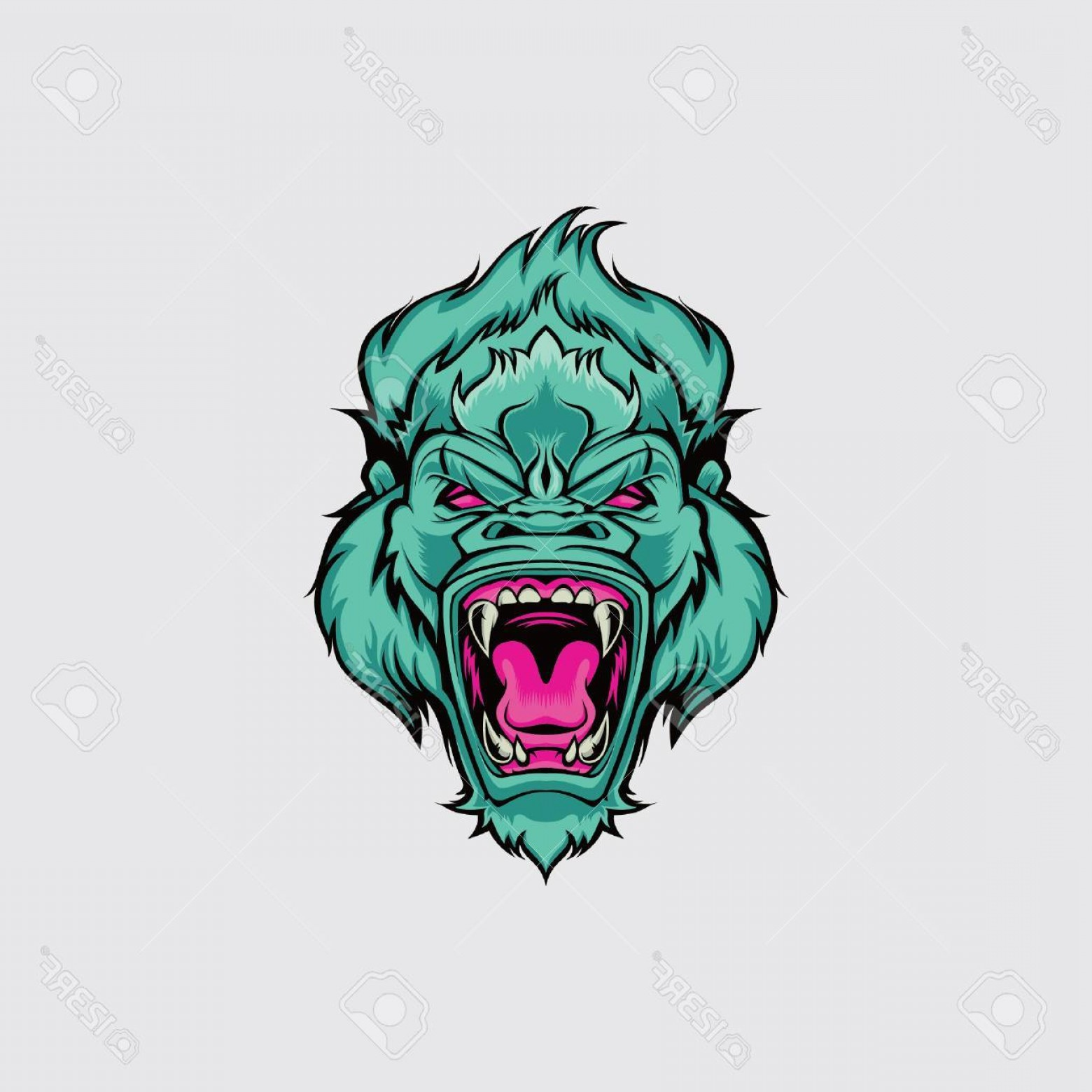 Drawings Of King Kong Vector: Photostock Vector King Kong Face Vector Illustration