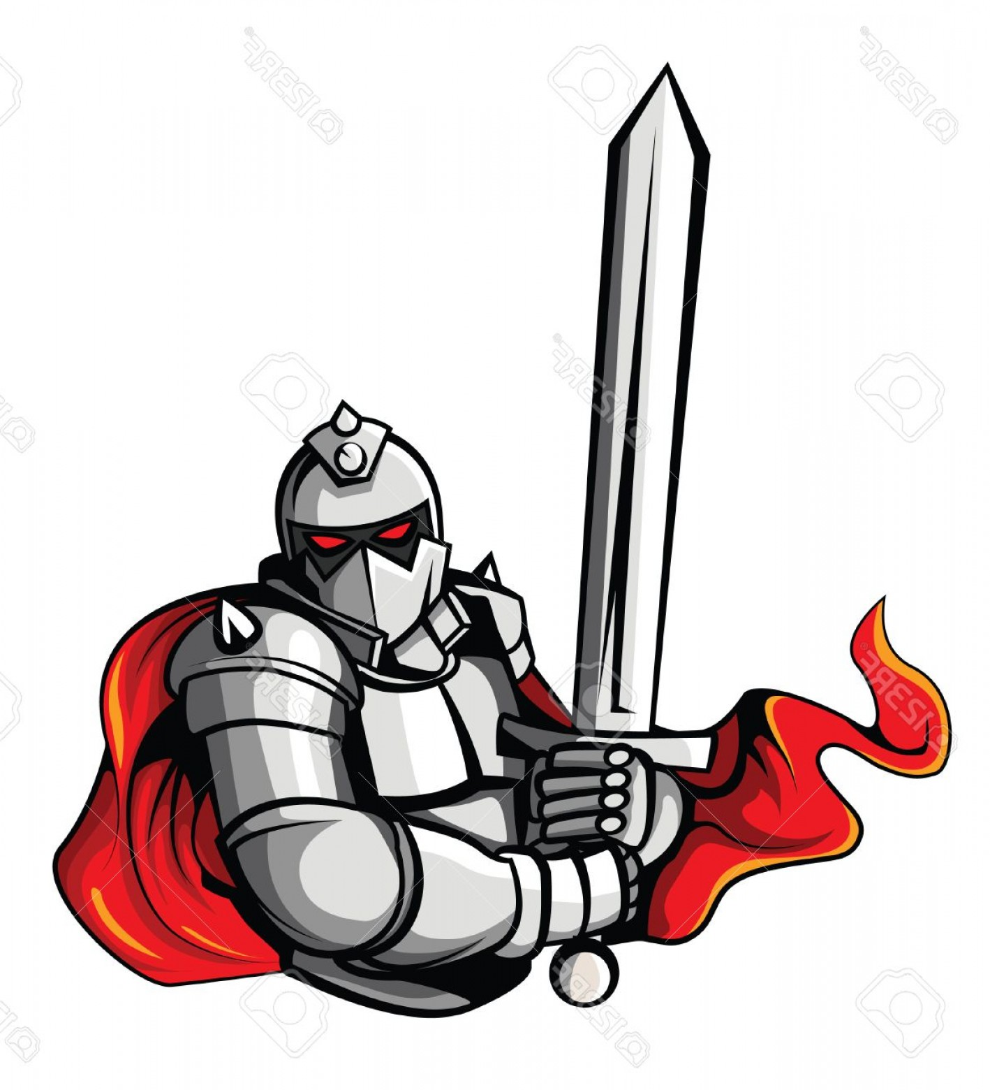 Warrior Vector Art: Photostock Vector Knight Warrior Vector Illustration