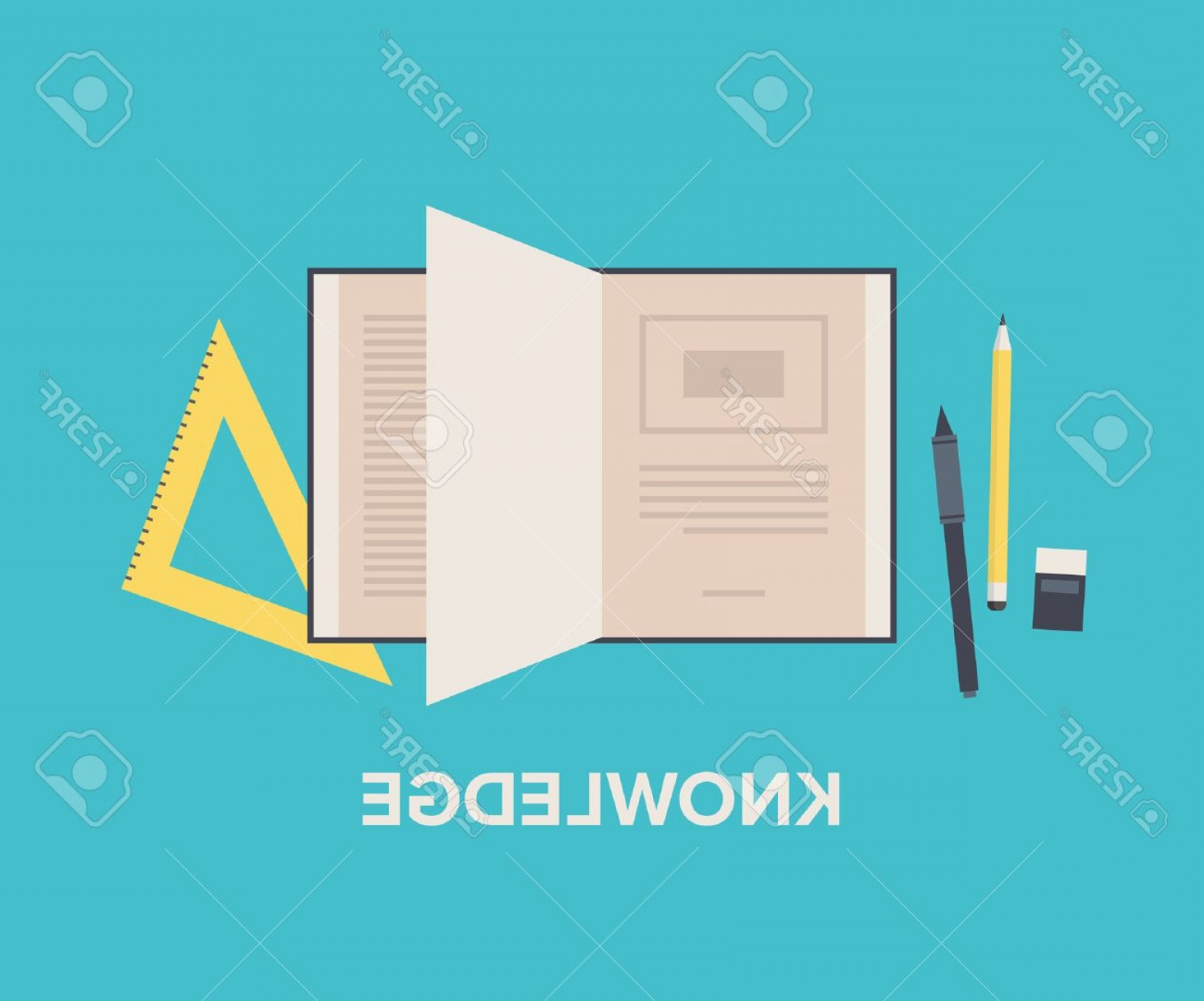 Open Book Vector Flat: Photostock Vector Knowledge And Education Concept With Open Book For Reading And Learning Maths Equipment And Writing