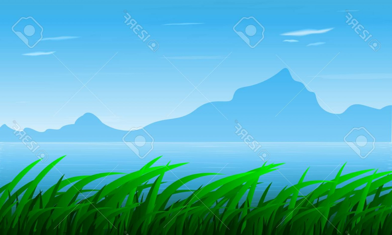 River Vector Art: Photostock Vector Landscape Of Grass On The Background Of The River And Mountains Vector Art Illustration