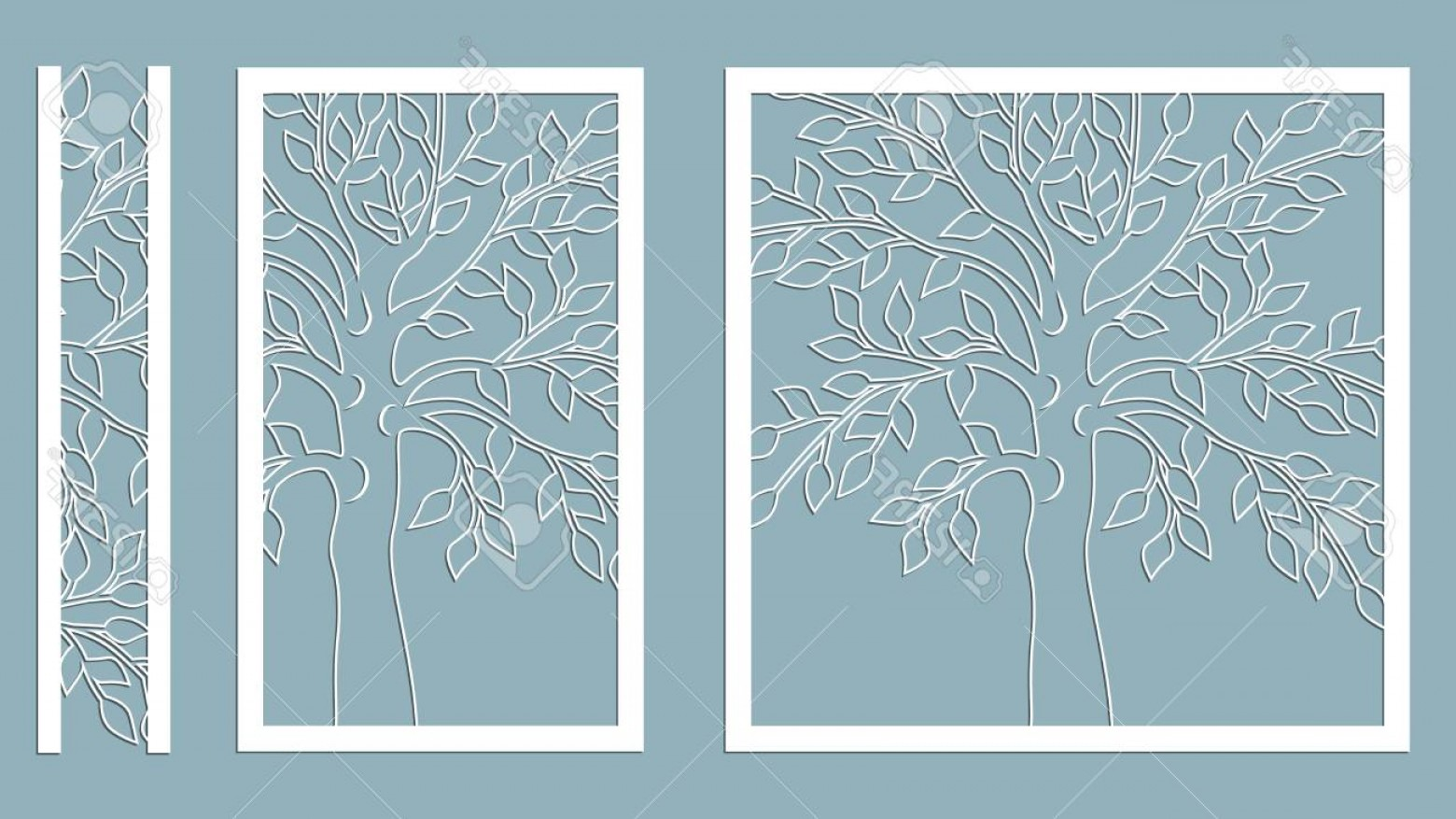 Champagne Vinyl Plotter Vector Art: Photostock Vector Laser Cut Vector Design Laser Cutting Template Tree Paper Cutting Plotter And Screen Printing Serigr