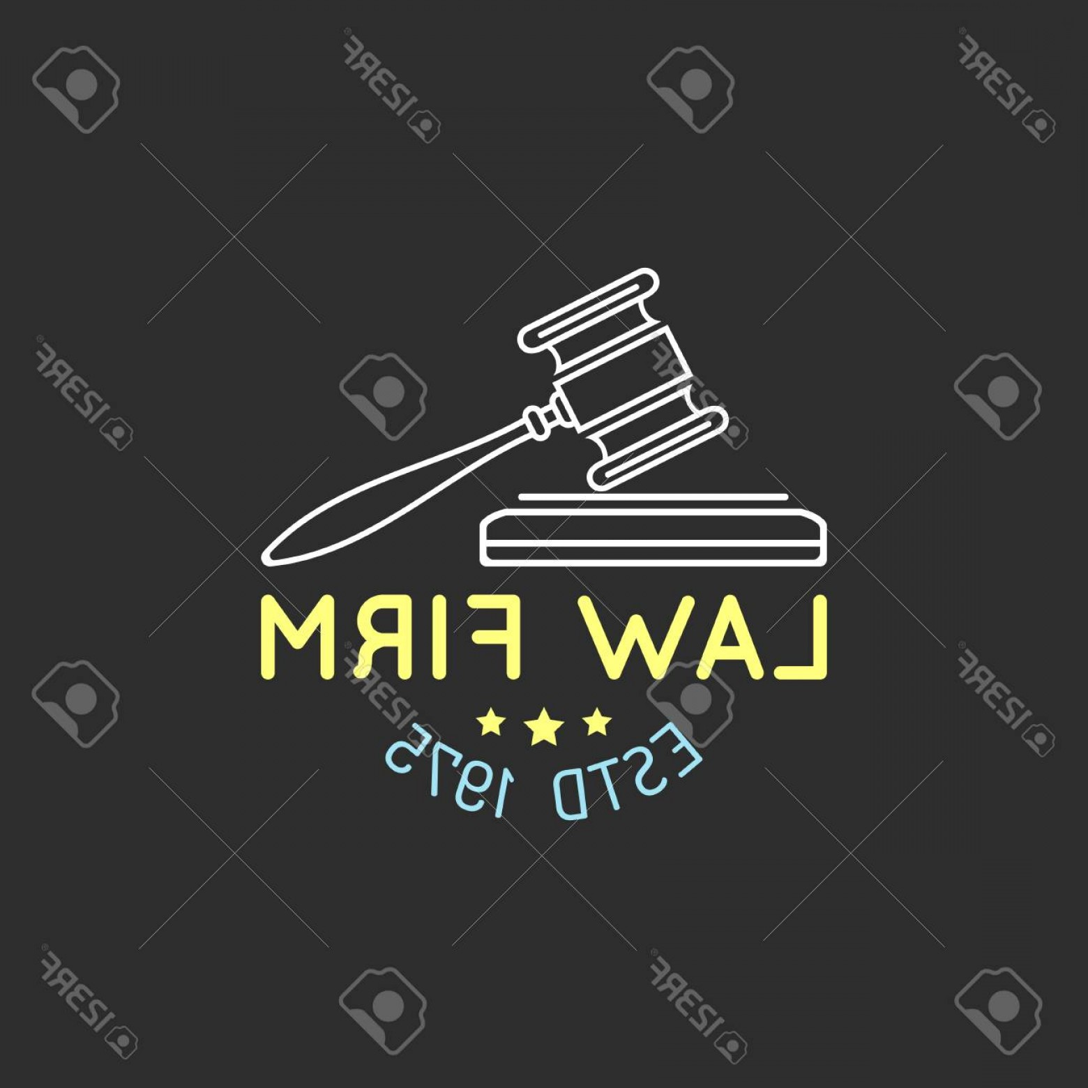 Vintage Sign Vector Attorney-Law: Photostock Vector Law Office Logo With Gavel Illustration Vector Vintage Attorney Advocate Label Badge Act Principle L