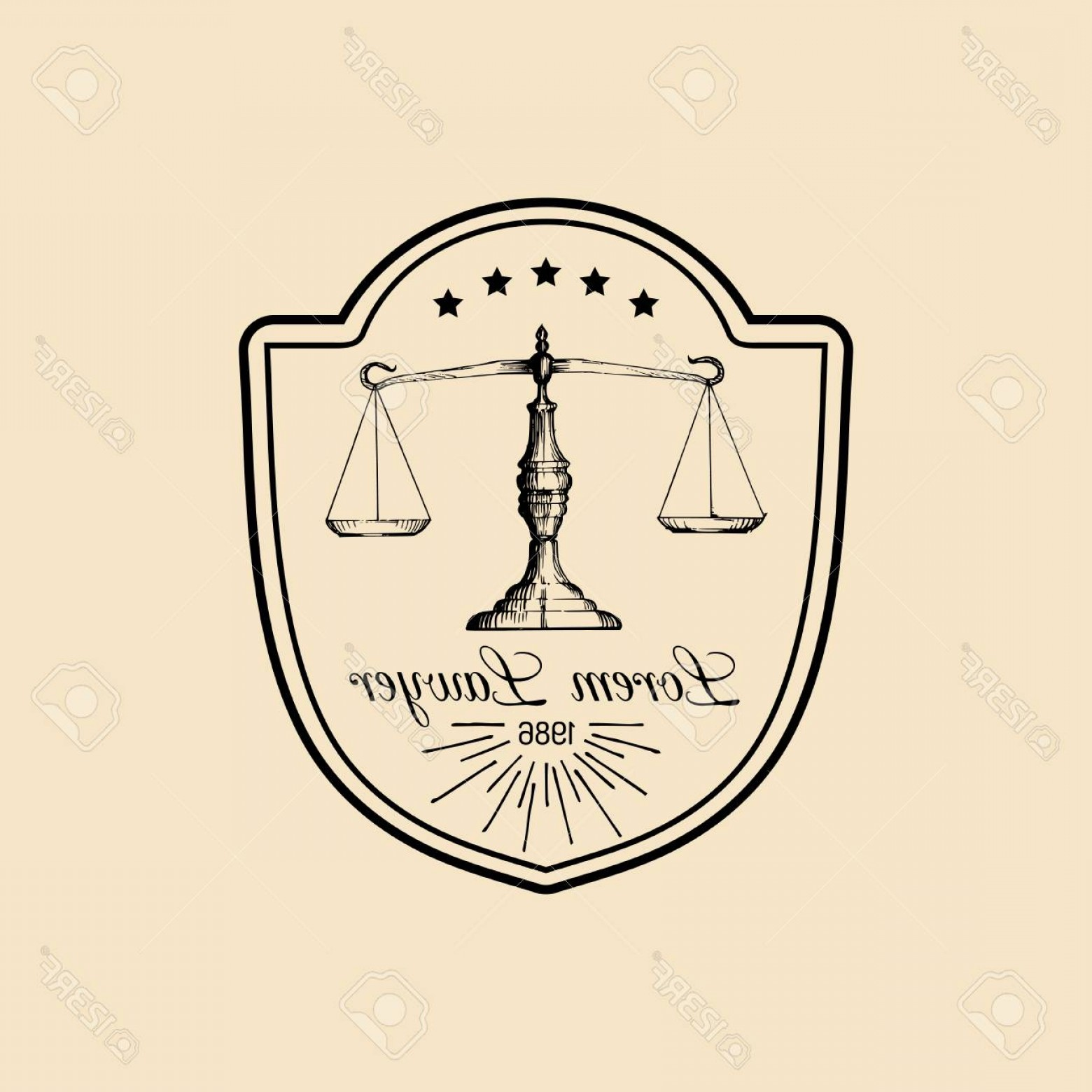Vintage Sign Vector Attorney-Law: Photostock Vector Law Office Logo With Scales Of Justice Illustration Vector Vintage Attorney Advocate Label Juridical