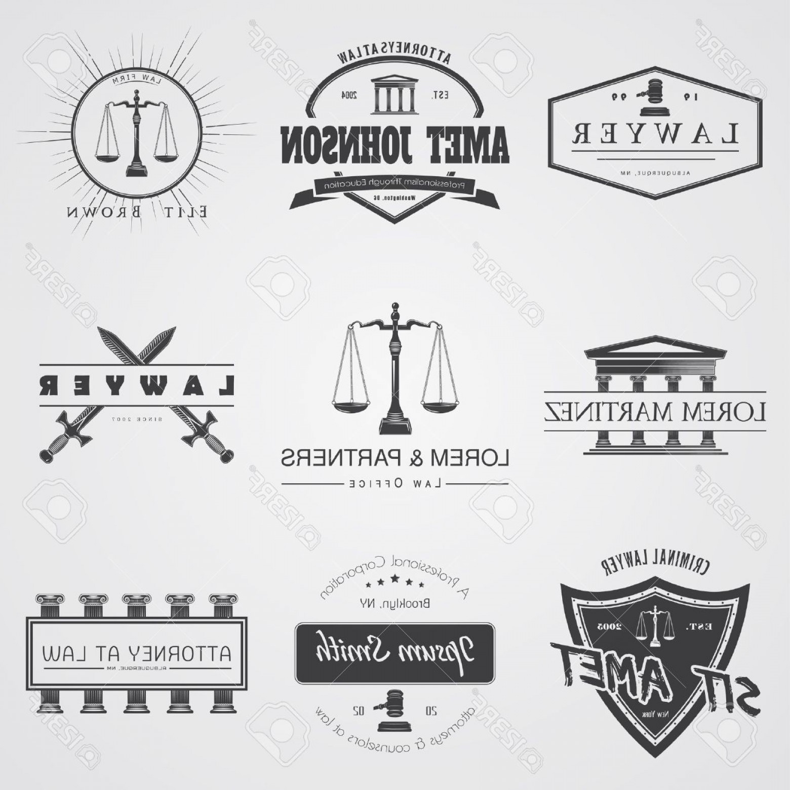 Vintage Sign Vector Attorney-Law: Photostock Vector Lawyer Services Law Office The Judge The District Attorney The Lawyer Set Of Vintage Labels Scales O