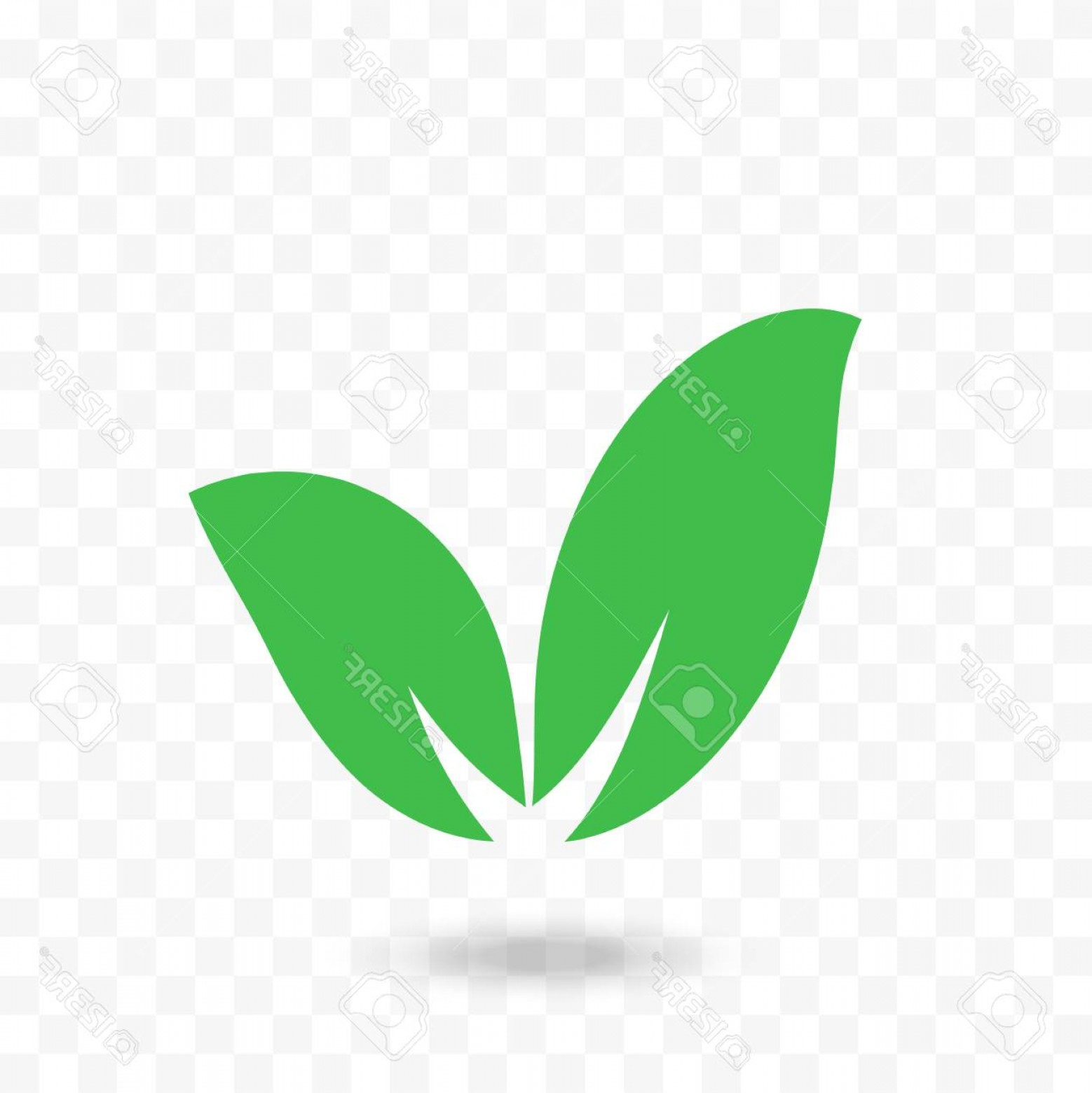Leaf Vector Logo: Photostock Vector Leaf Vector Logo On Transparent Background Isolated Green Leaf Icon With Shadow For Eco Bio Or Organ