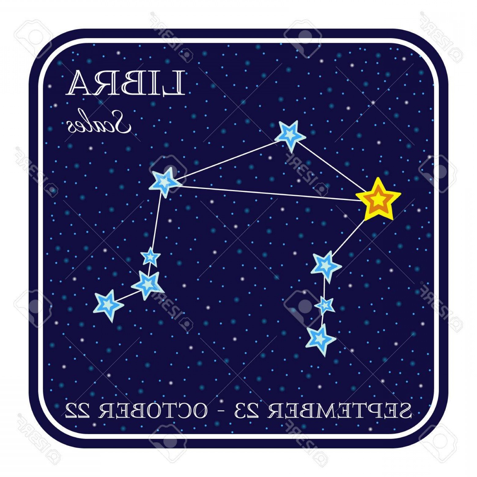 October Zodiac Constellation Vector: Photostock Vector Libra Zodiac Constellation In Square Frame Cute Cartoon Style Illustration Isolated On White Backgro