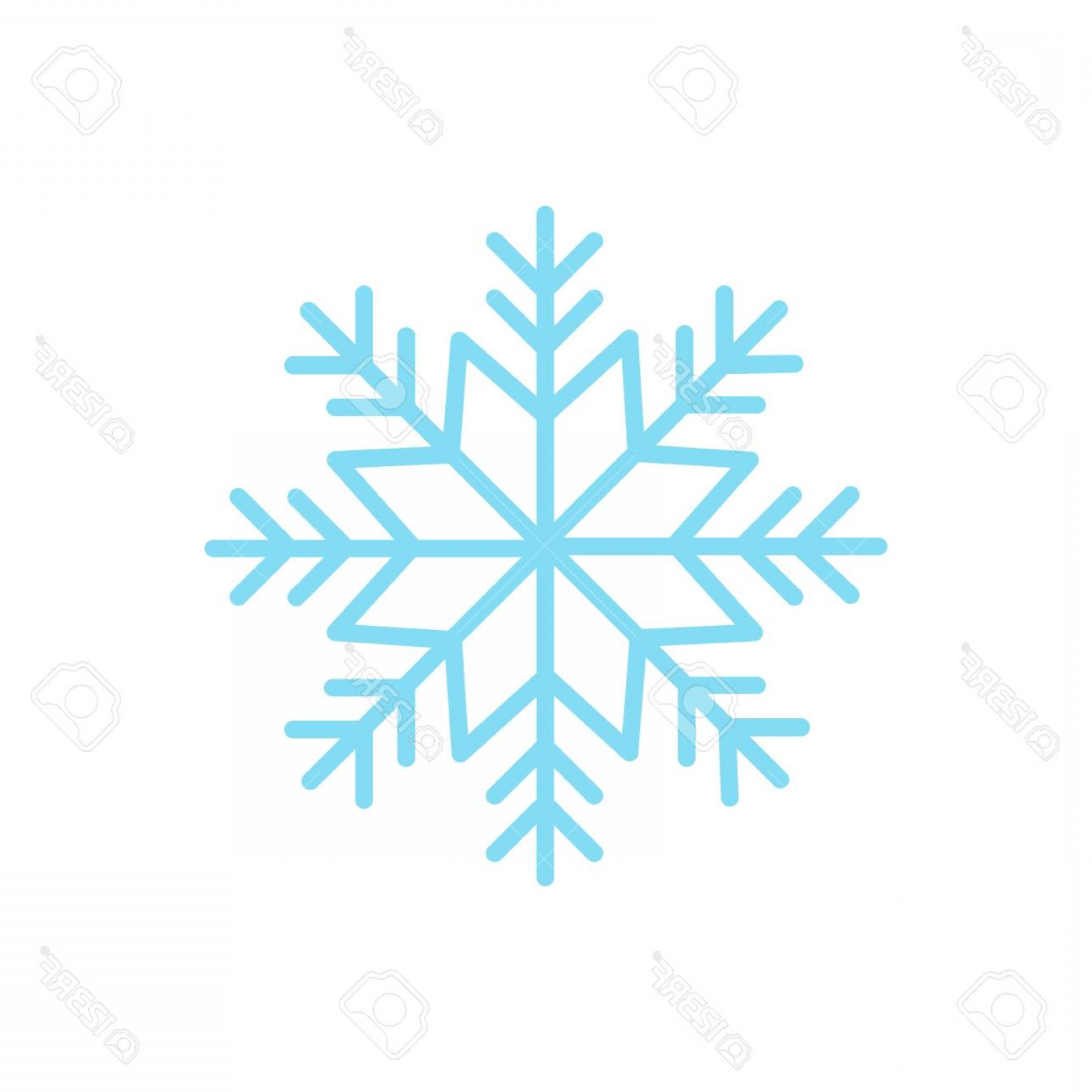 White Snowflake Vector Art: Photostock Vector Light Blue Snowflake Ice Snowflake Vector Illustration Graphic Icon Isolated On White Background