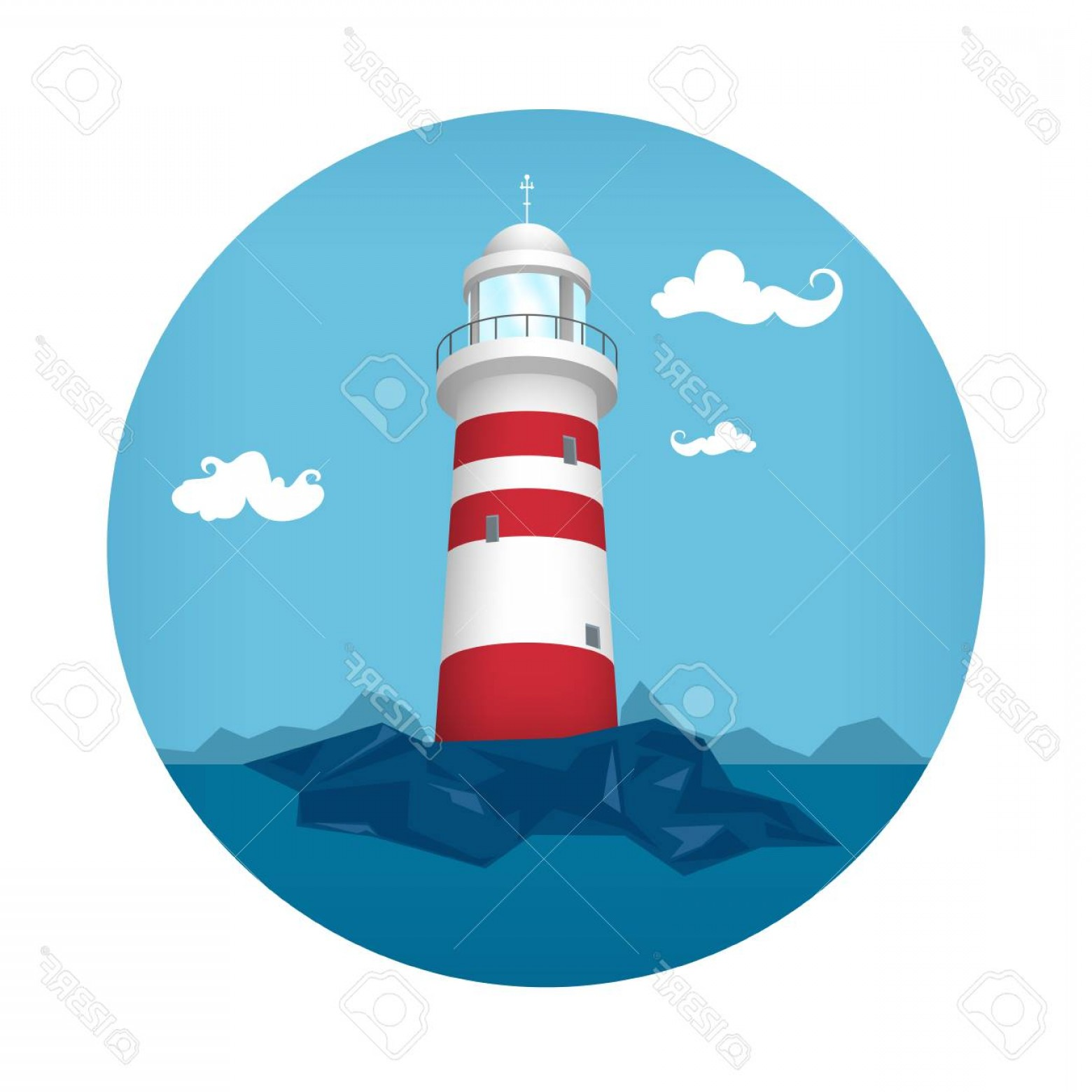 Lighthouse Beacon Silhouette Vector: Photostock Vector Lighthouse Icon Beacon Stands On Rocks Vector Illustration
