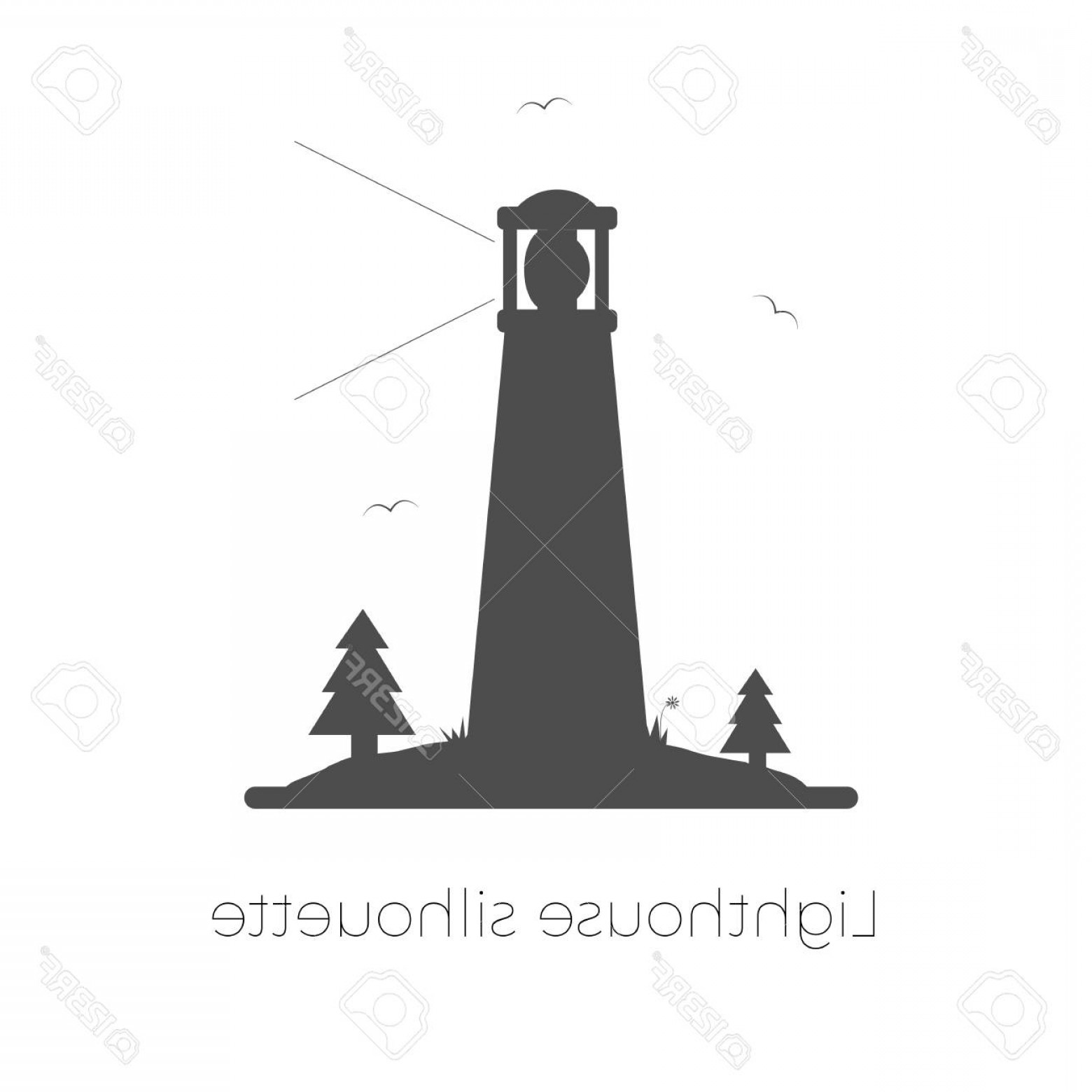 Lighthouse Beacon Silhouette Vector: Photostock Vector Lighthouse Silhouette Vector Illustration Beacon On Island With Trees Grass And Seagulls Isolated On