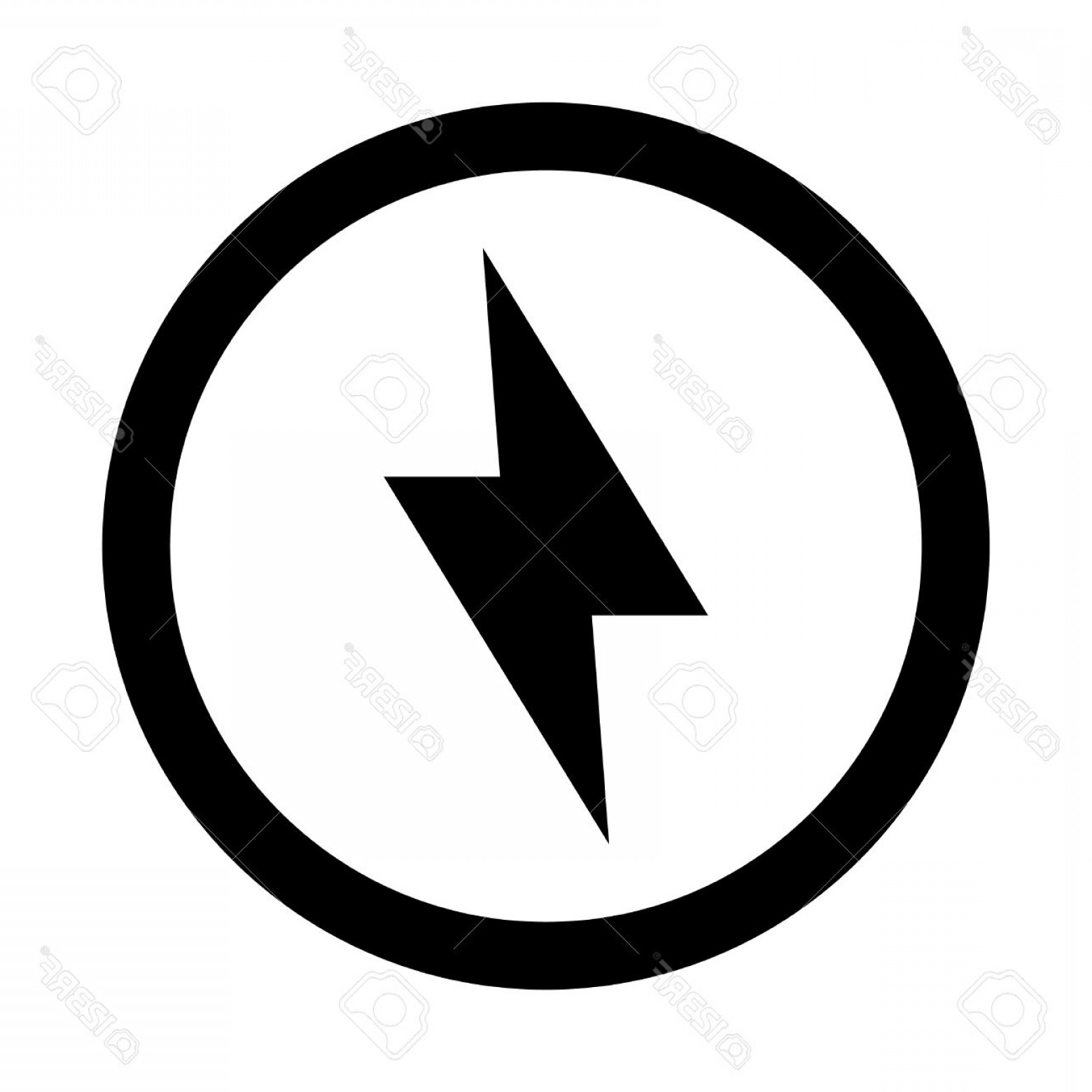 Black Facebook Logo Vector: Photostock Vector Lightning Bolt Vector Icon
