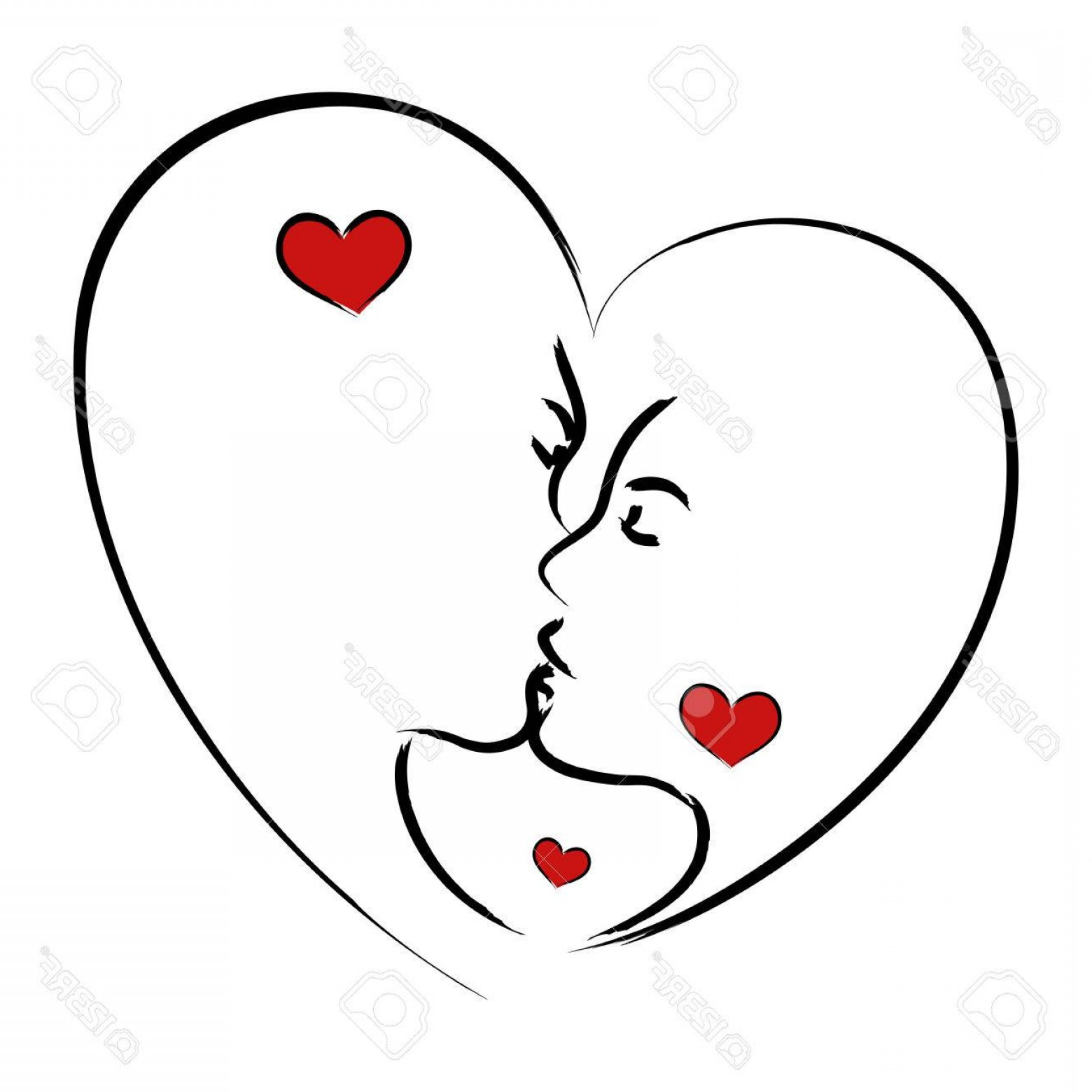 Kiss Clip Art Vector: Photostock Vector Line Art Illustration Of A Man And Woman Kissing In Heart Shape Symbol