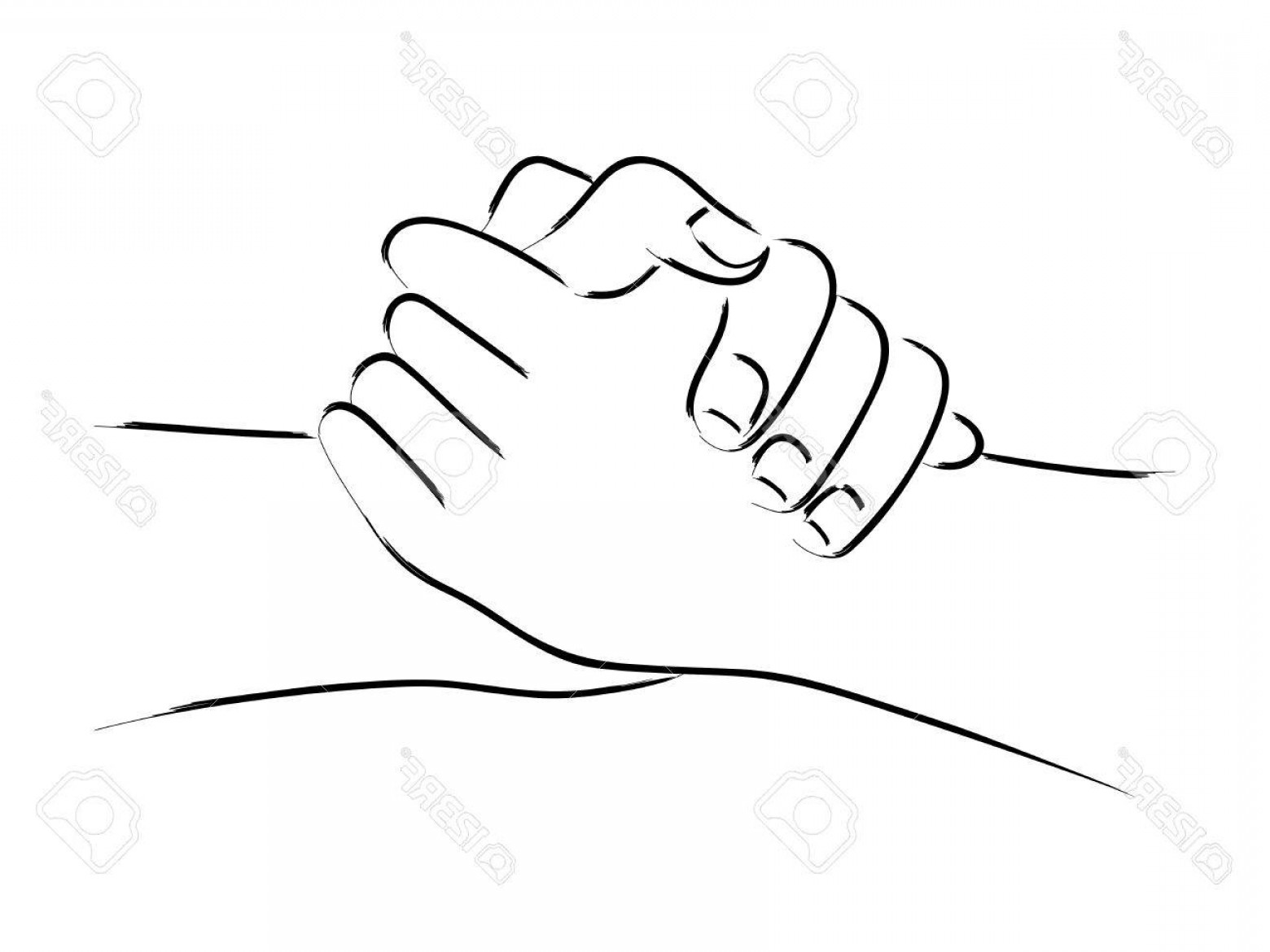 Hand Vector Clip Art: Photostock Vector Line Art Of Two Hands Holding Each Other Strongly