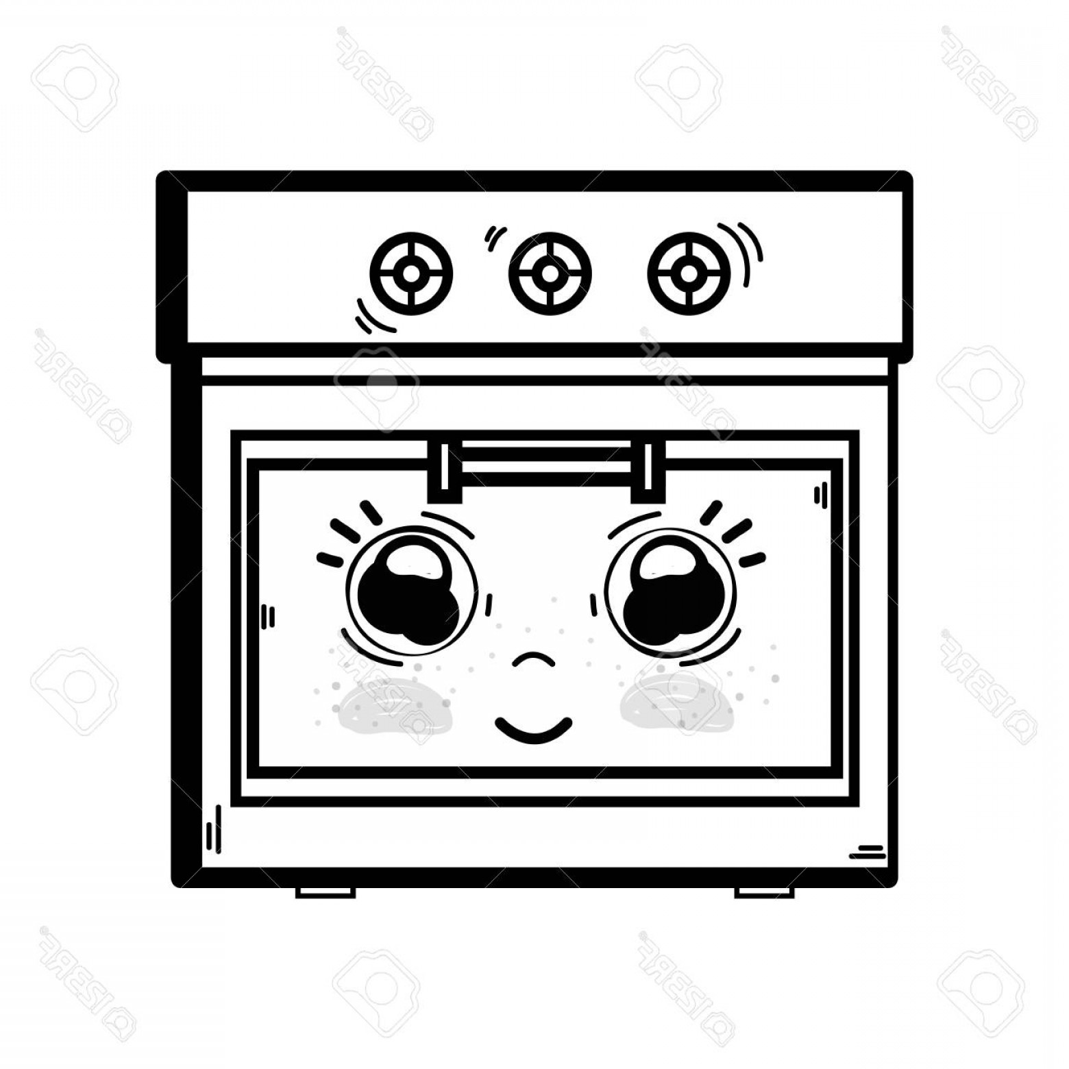 Happy Oven Vector: Photostock Vector Line Cute Happy Oven Technology Vector Illustration