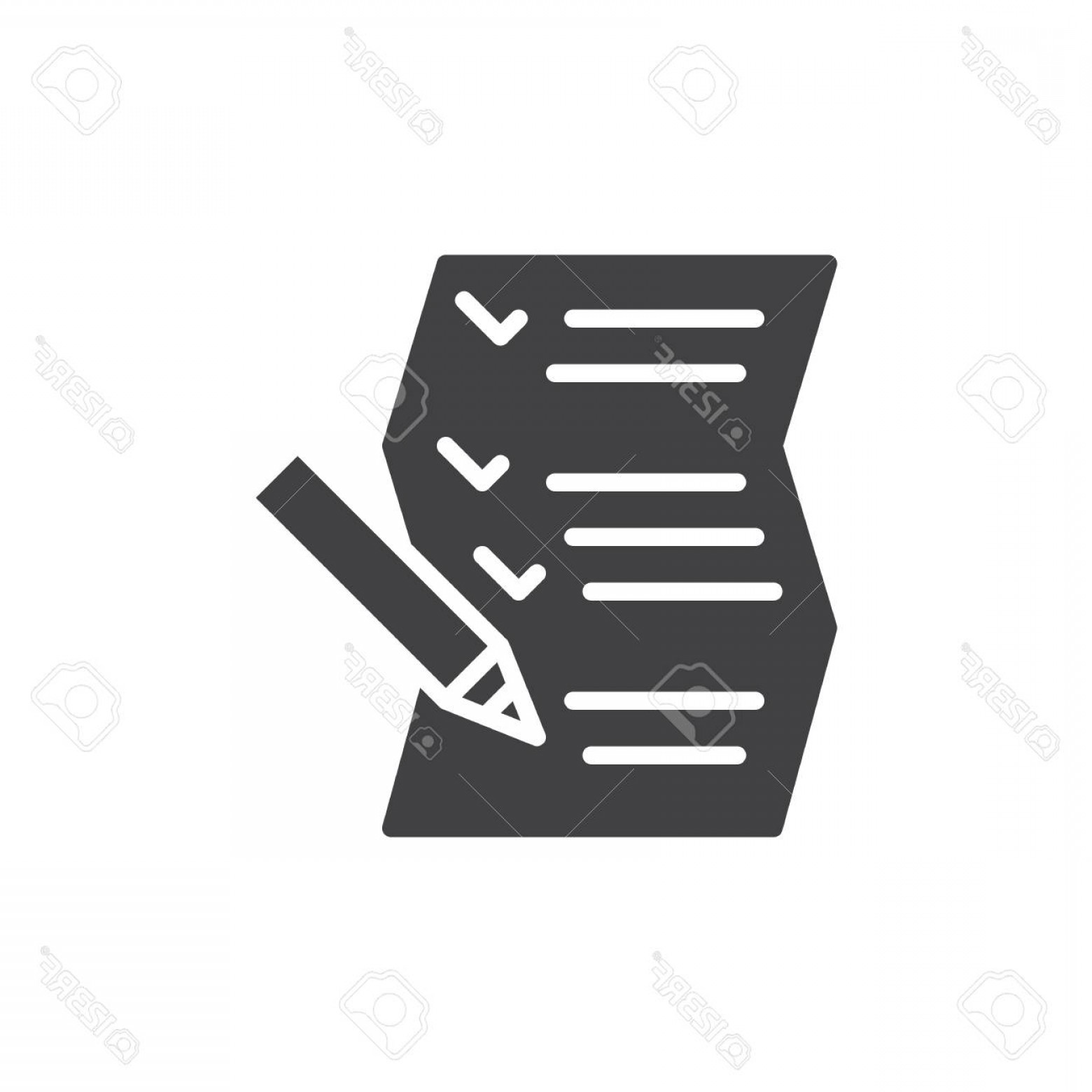 Paper And Pencil Icon Vector: Photostock Vector List Paper And Pencil Icon Vector Filled Flat Sign Solid Pictogram Isolated On White Symbol Logo Ill