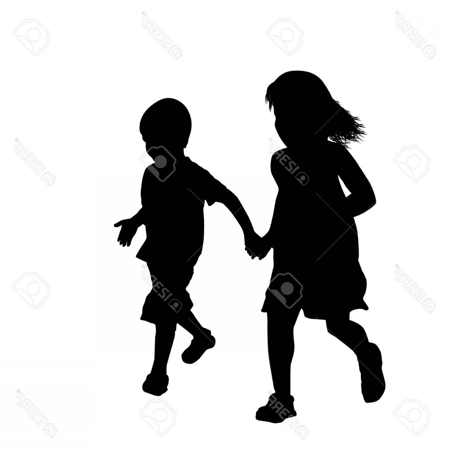 Little Boy Silhouette Vector: Photostock Vector Little Boy And Girl Silhouette Running Together On White Background Vector Illustration