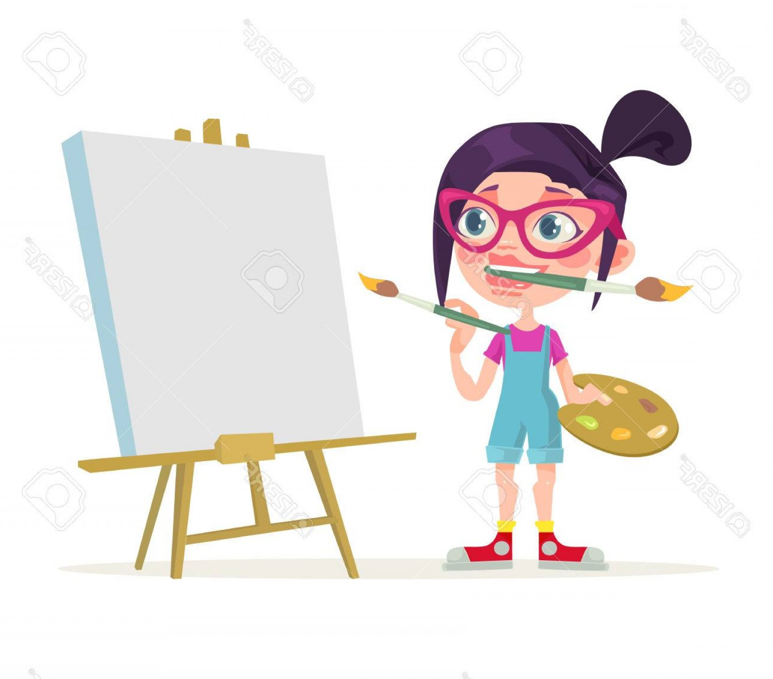 Woman Vector Toon Painter: Photostock Vector Little Girl Artist Character Blank Canvas Vector Flat Cartoon Illustration