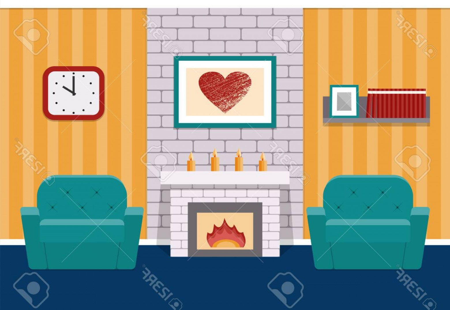 Vector Background For Living Room: Photostock Vector Living Room Interior In Flat Design With Fireplace And Armchairs Vector Background Cartoon Lounge Wi