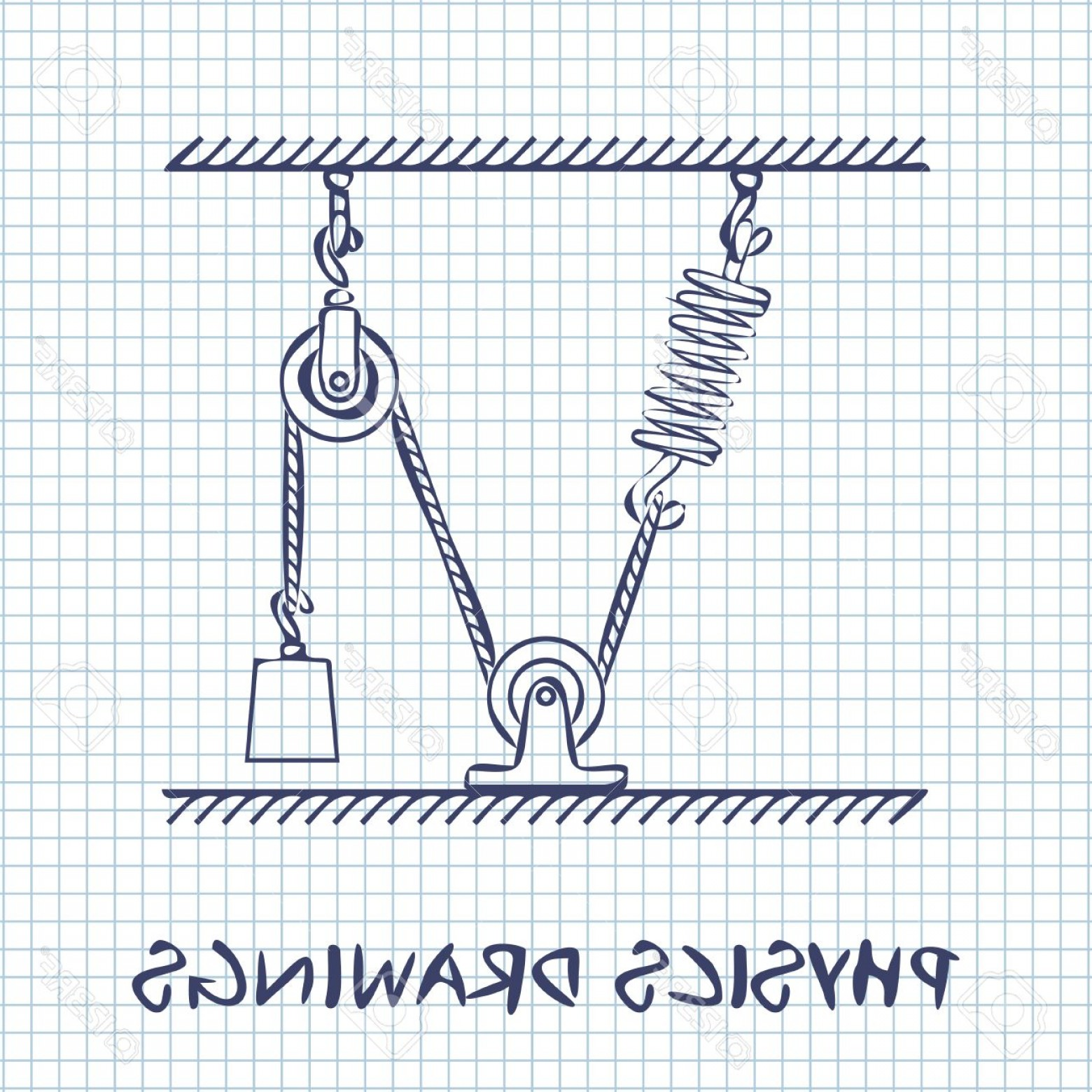 Graphing Vectors Physics: Photostock Vector Loaded Movable Pulleys With Spring And Rope Physics Drawing On White Squared Paper Sheet Background
