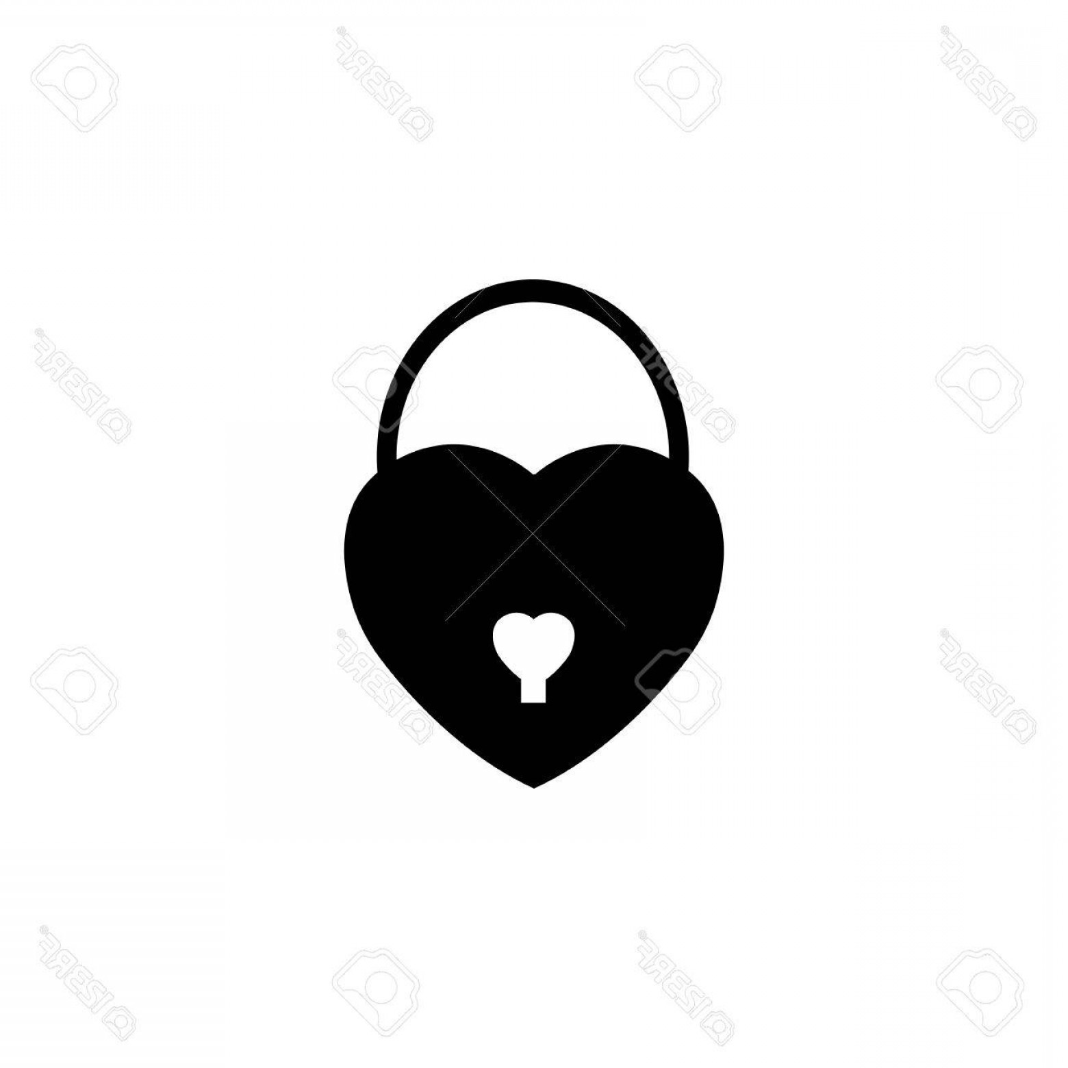 Solid Heart Vector Drawing: Photostock Vector Lock Heart Shaped Solid Icon Love Sign Valentine S Day Love Concept Vector Graphics A Filled Pattern