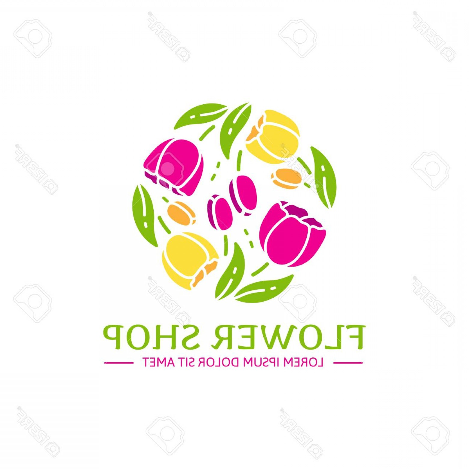 Modern Flower Logo Vector: Photostock Vector Logo For Flower Shop Arrangement Of Pink And Yellow Tulips In A Modern Style