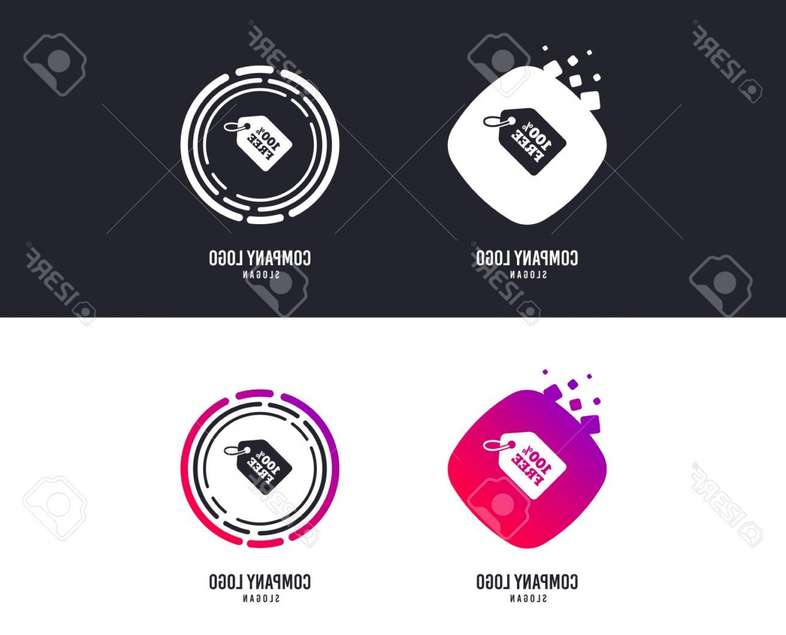Vector Freebies: Photostock Vector Logotype Concept Free Tag Icon Freebies Banner Symbol Shopping Special Offer Sign Logo Design Colorf